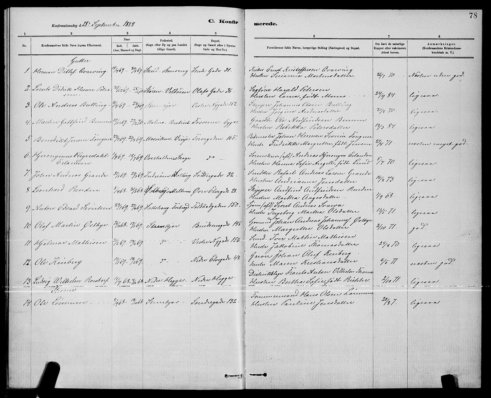 SAT, Ministerialprotokoller, klokkerbøker og fødselsregistre - Nord-Trøndelag, 739/L0374: Klokkerbok nr. 739C02, 1883-1898, s. 78