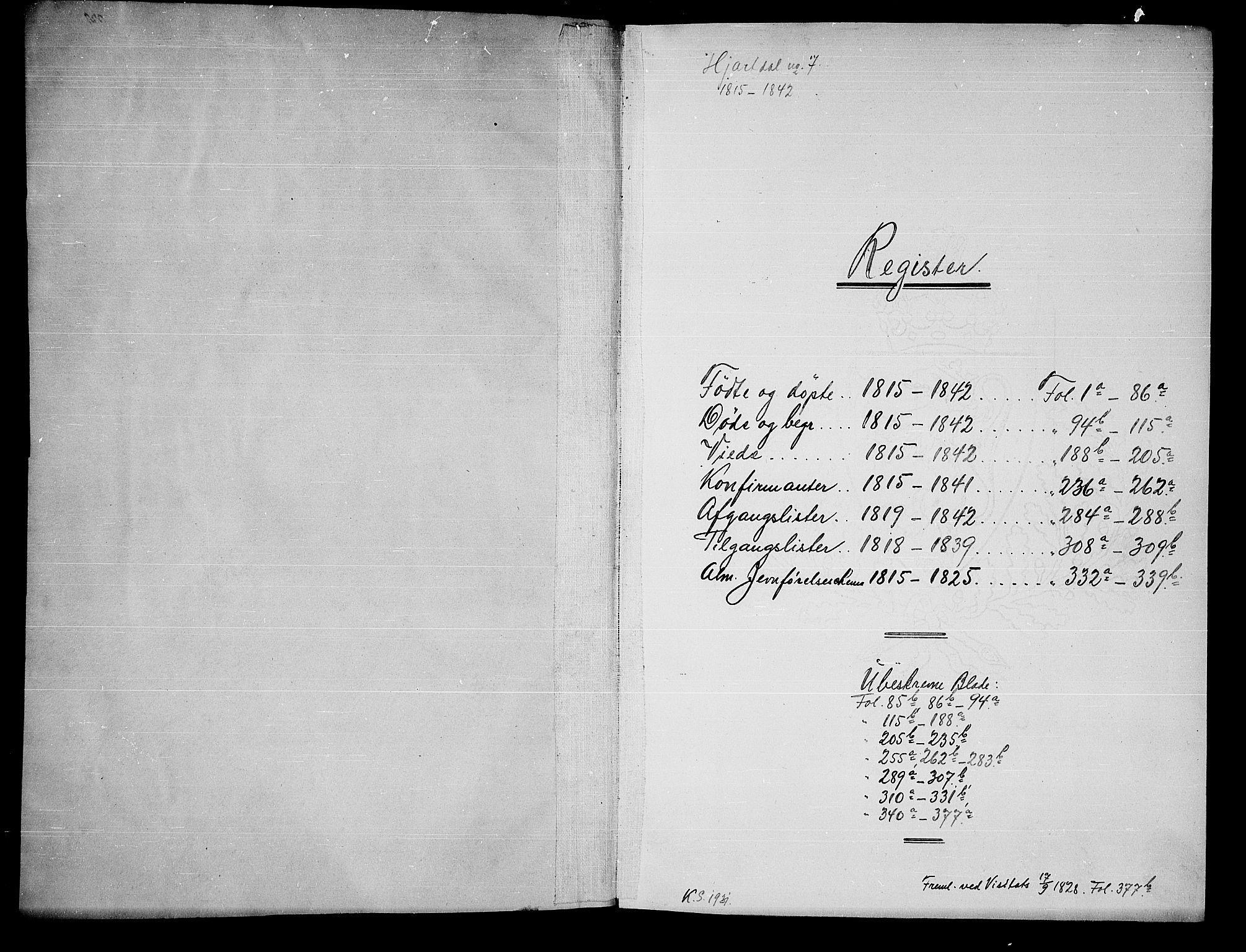 SAKO, Hjartdal kirkebøker, G/Ga/L0001: Klokkerbok nr. I 1, 1815-1842