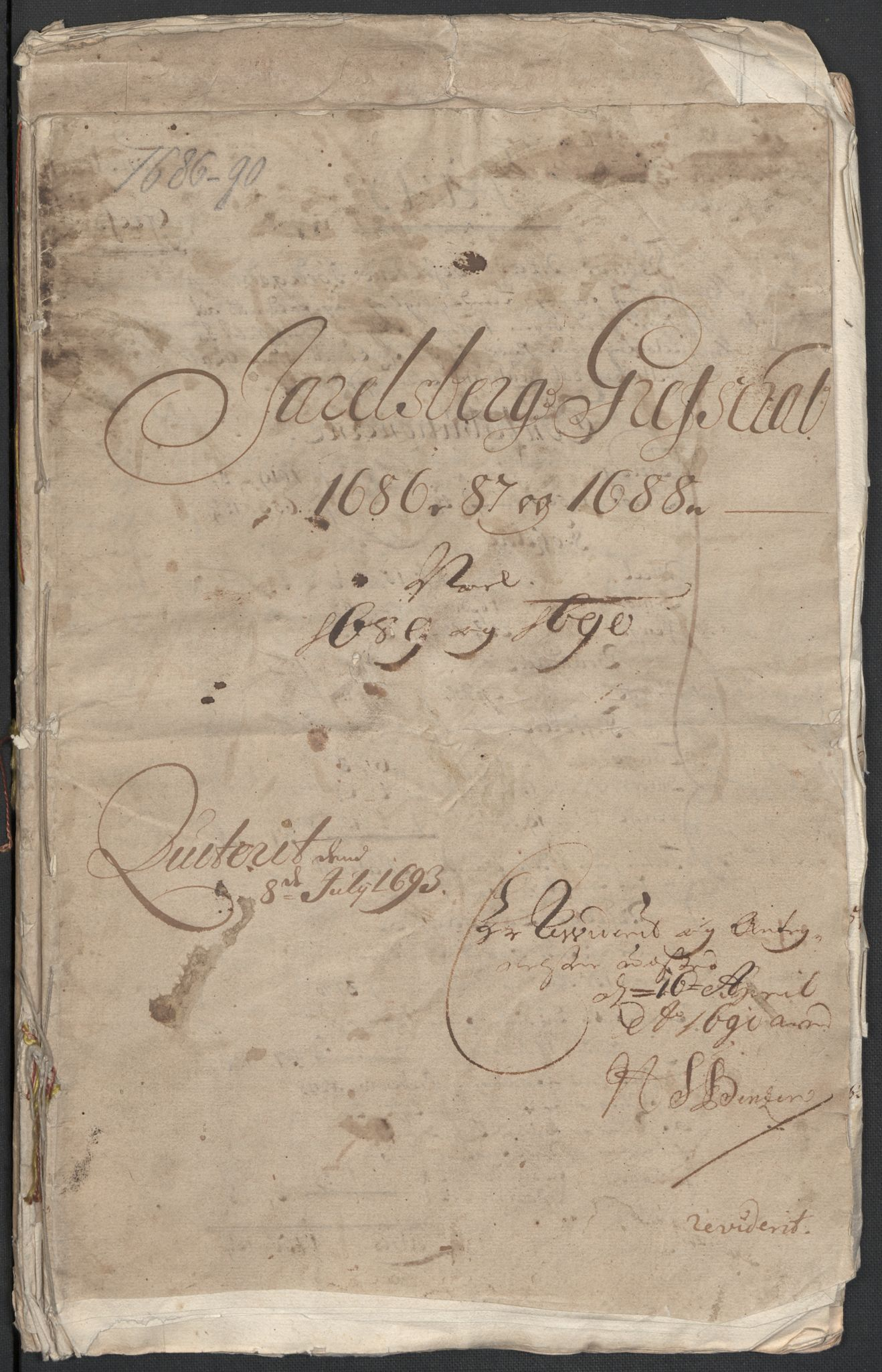 RA, Rentekammeret inntil 1814, Reviderte regnskaper, Fogderegnskap, R32/L1857: Fogderegnskap Jarlsberg grevskap, 1686-1690, s. 1
