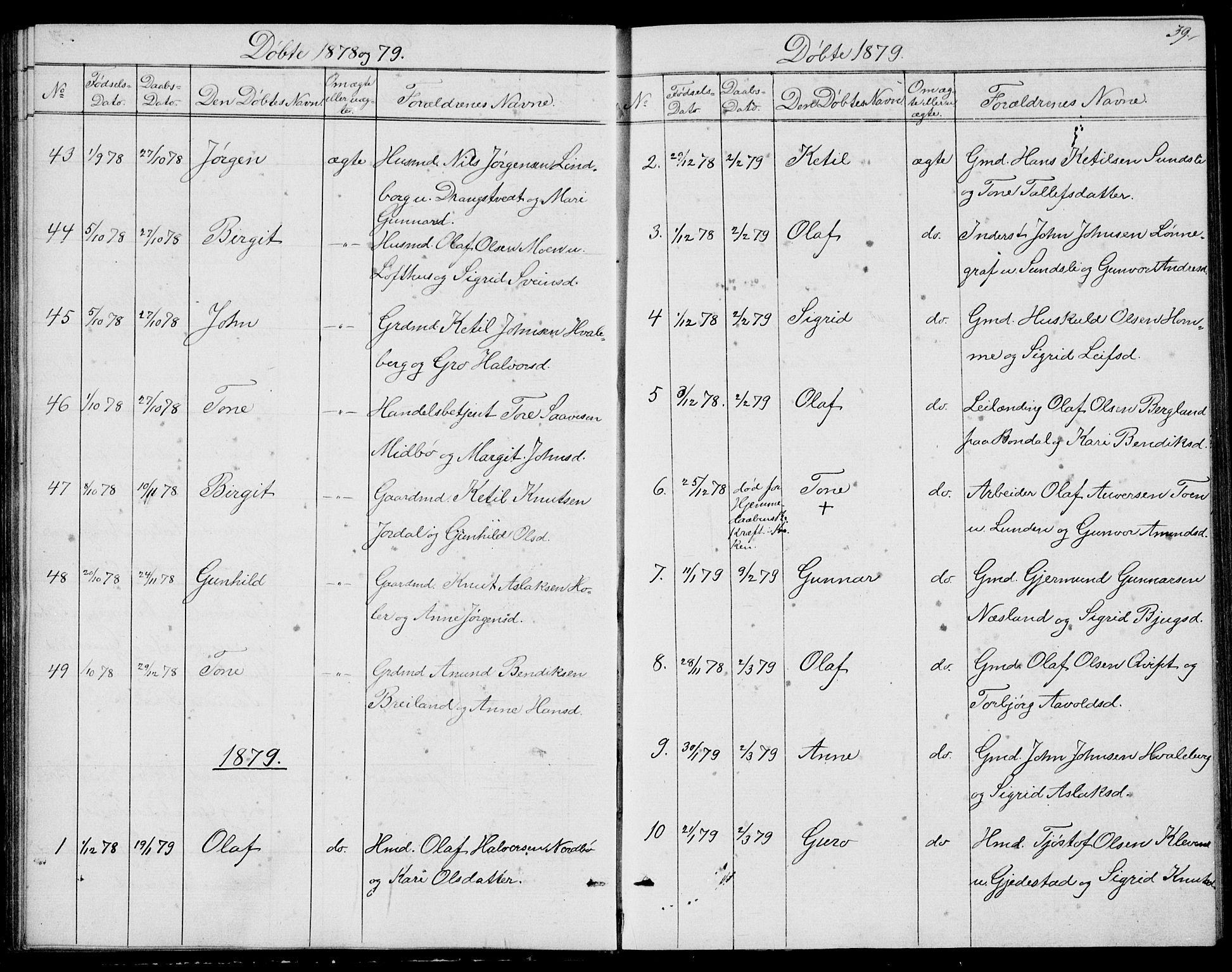 SAKO, Fyresdal kirkebøker, G/Ga/L0004: Klokkerbok nr. I 4, 1864-1892, s. 39