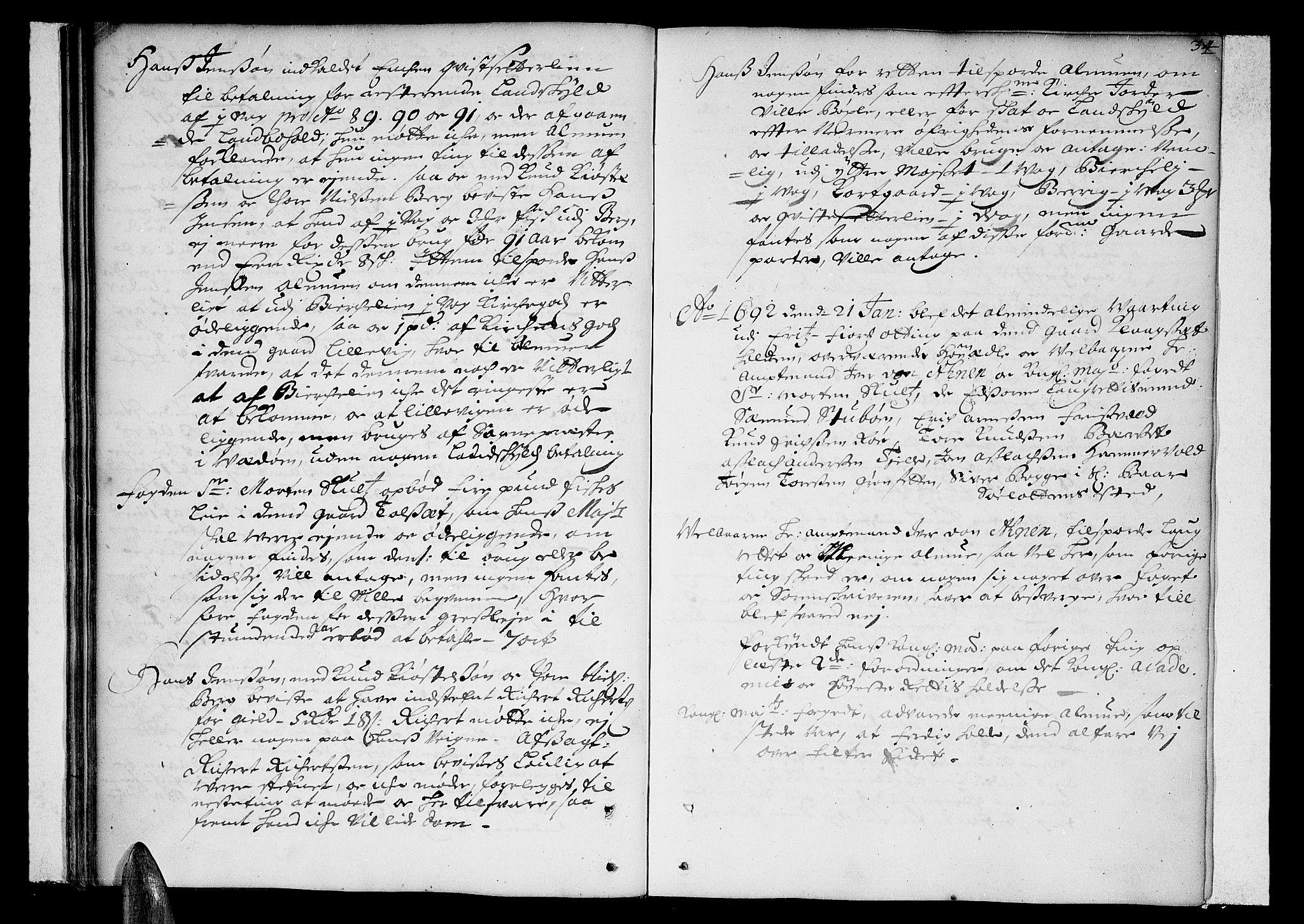 SAT, Romsdal sorenskriveri, 1/1A/L0002: Tingbok, 1690-1693, s. 33b-34a