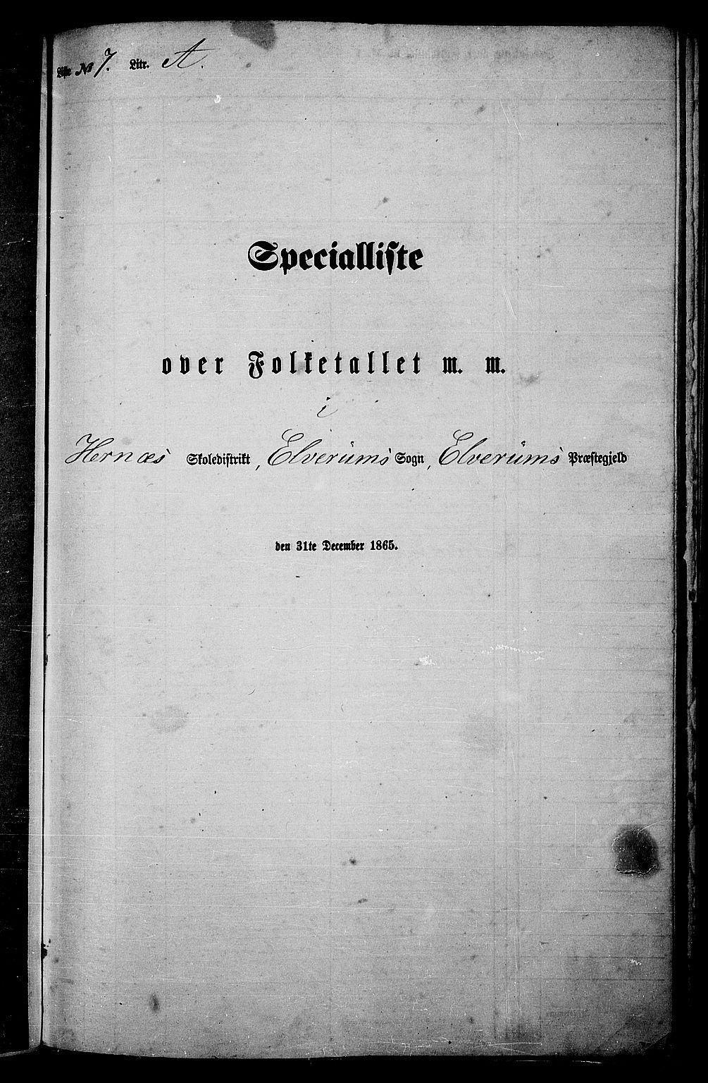 RA, Folketelling 1865 for 0427P Elverum prestegjeld, 1865, s. 152