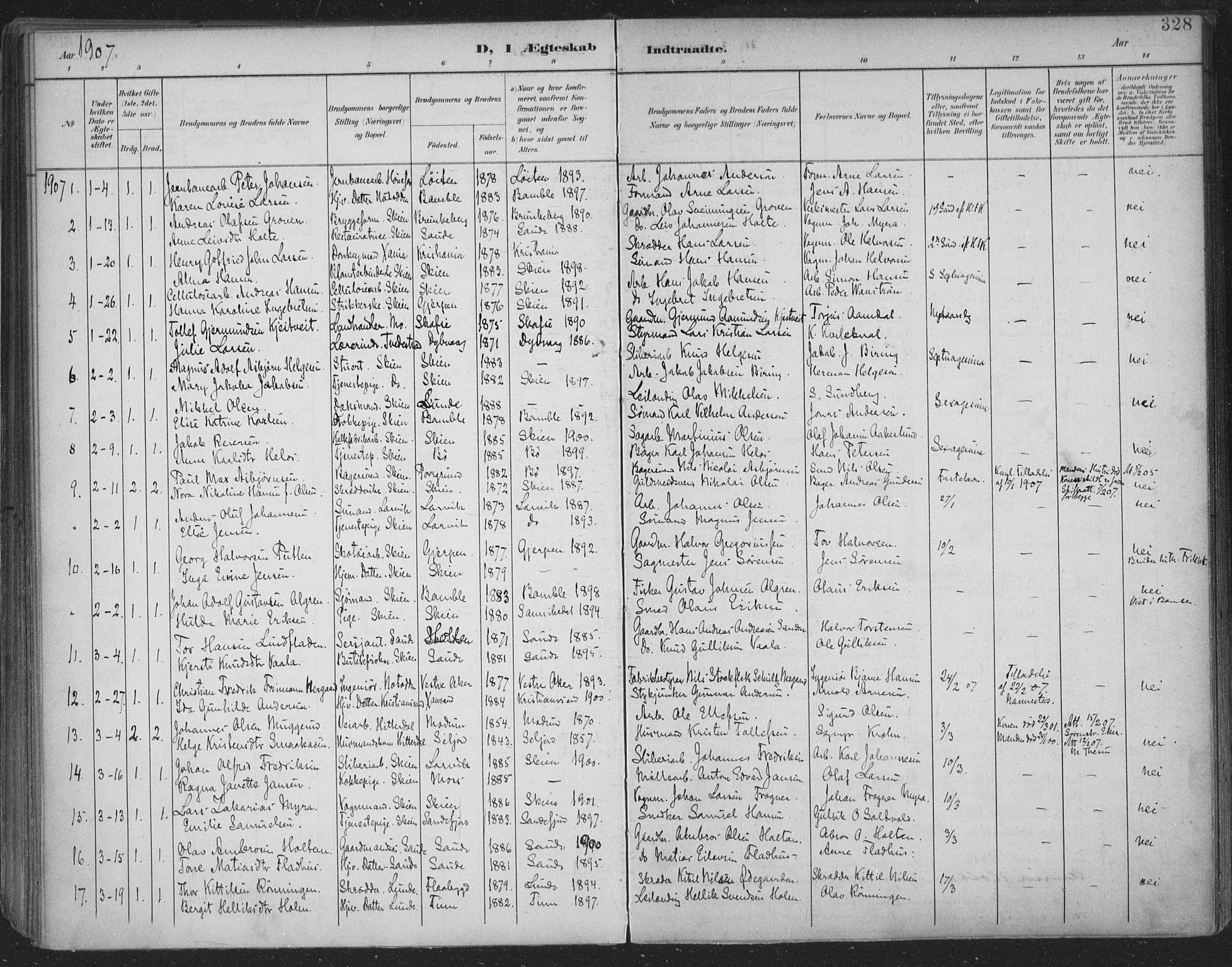 SAKO, Skien kirkebøker, F/Fa/L0011: Ministerialbok nr. 11, 1900-1907, s. 328