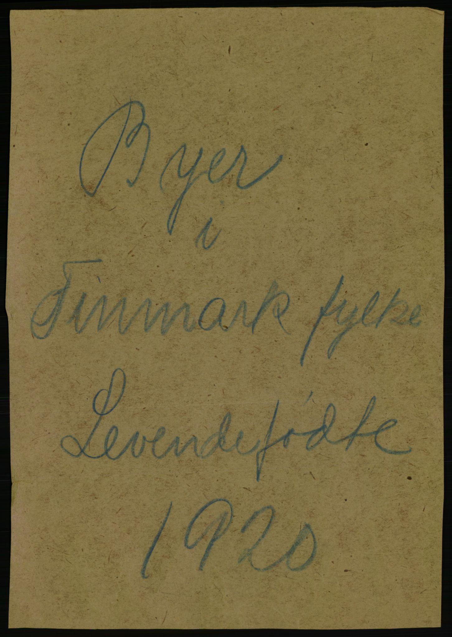 RA, Statistisk sentralbyrå, Sosiodemografiske emner, Befolkning, D/Df/Dfb/Dfbj/L0061: Finnmark fylke: Levendefødte menn og kvinner, gifte, døde, dødfødte. Bygder og byer., 1920