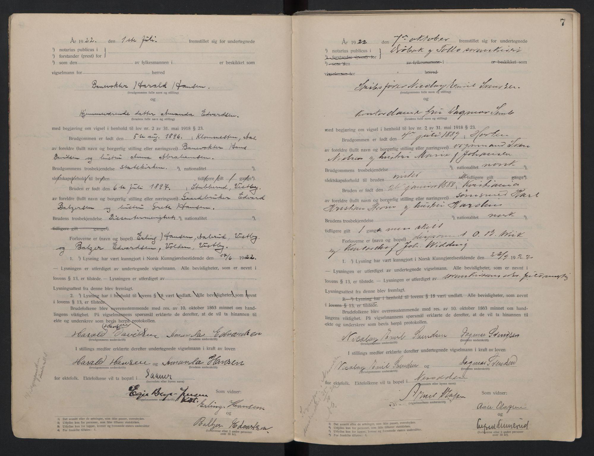SAO, Follo sorenskriveri, L/La/Lab/L0001: Vigselsbok, 1920-1942, s. 7