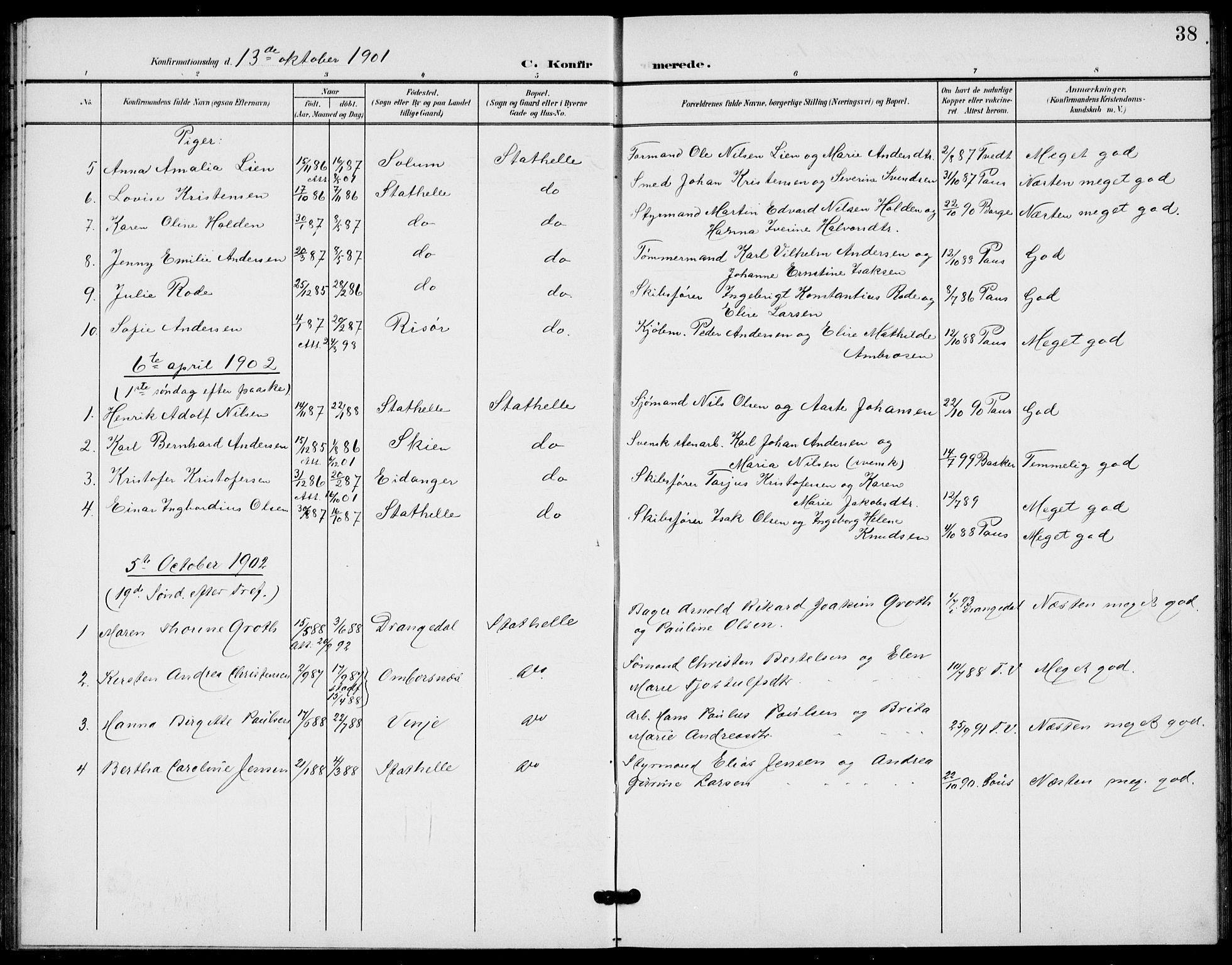 SAKO, Bamble kirkebøker, G/Gb/L0002: Klokkerbok nr. II 2, 1900-1925, s. 38