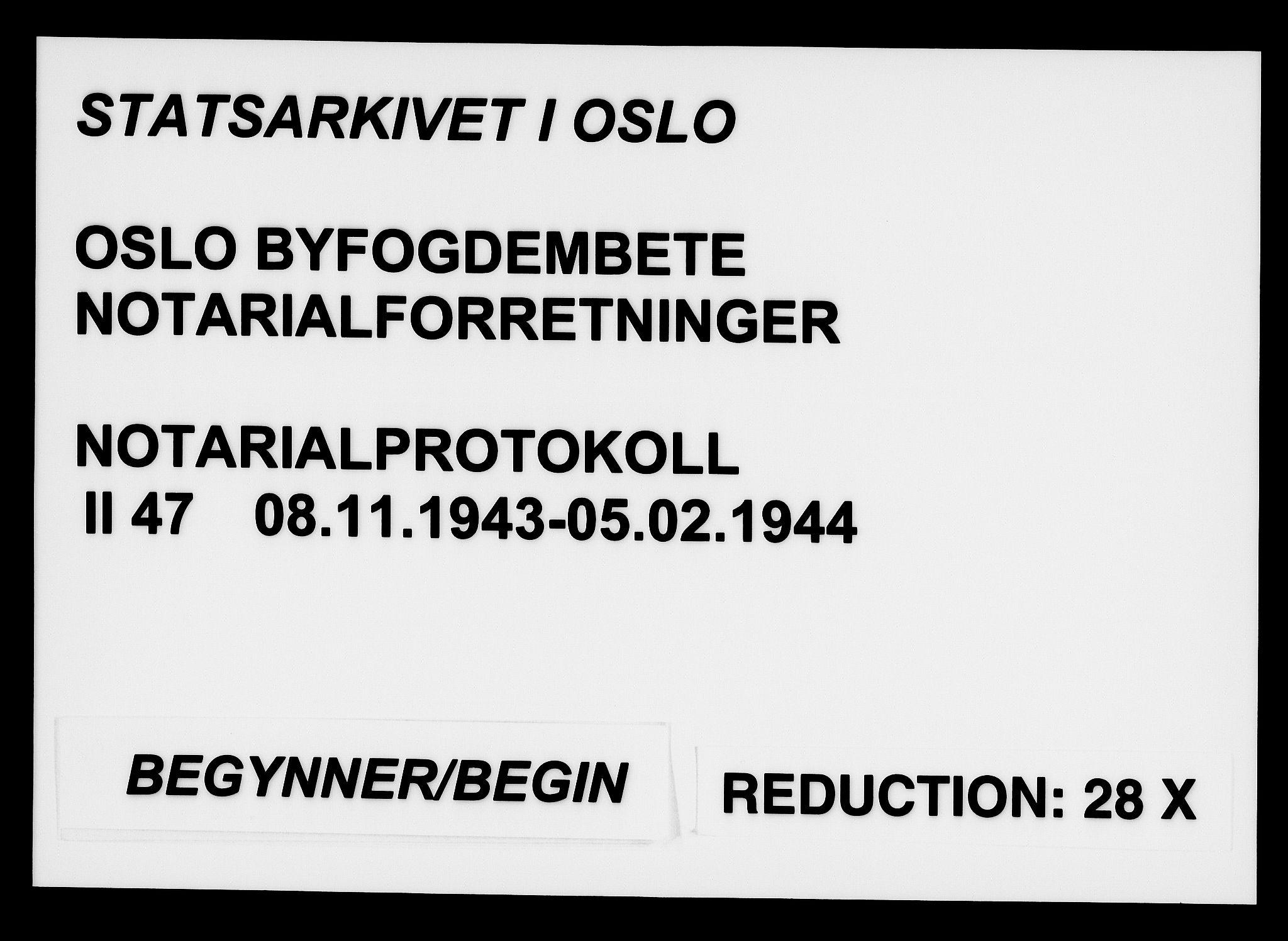 SAO, Oslo byfogd avd. I, L/Lb/Lbb/L0047: Notarialprotokoll, rekke II: Vigsler, 1943-1944, s. upaginert