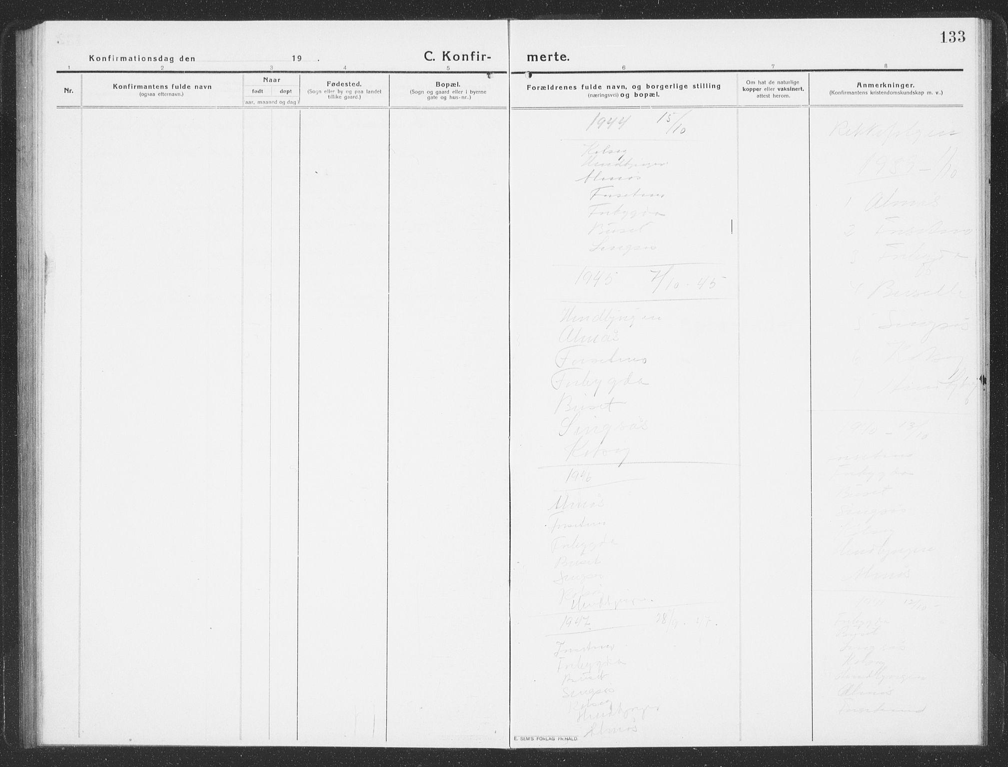 SAT, Ministerialprotokoller, klokkerbøker og fødselsregistre - Sør-Trøndelag, 688/L1030: Klokkerbok nr. 688C05, 1916-1939, s. 133