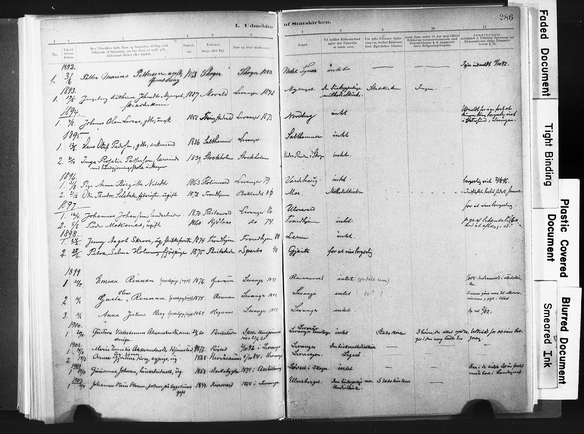 SAT, Ministerialprotokoller, klokkerbøker og fødselsregistre - Nord-Trøndelag, 721/L0207: Ministerialbok nr. 721A02, 1880-1911, s. 286