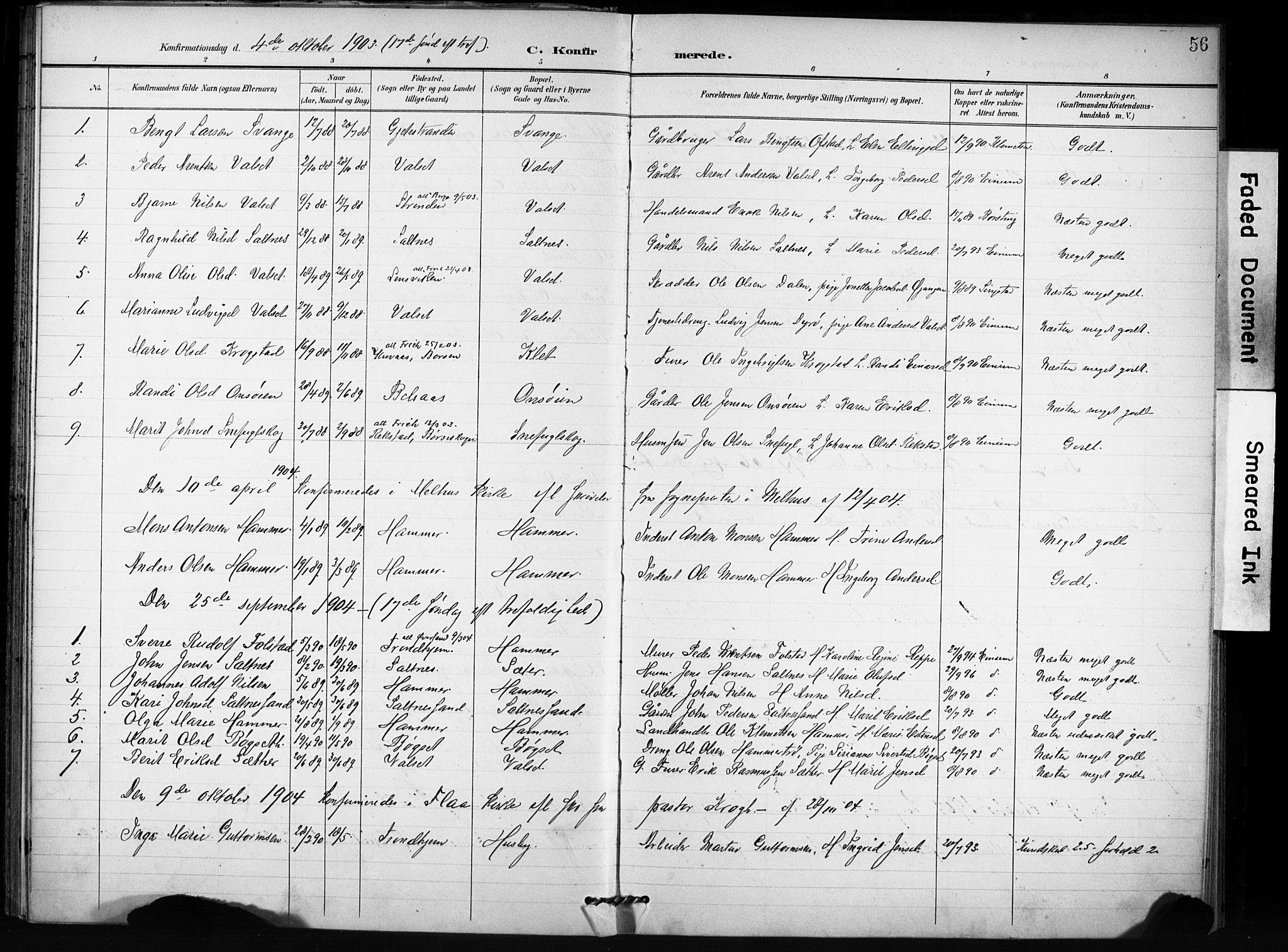SAT, Ministerialprotokoller, klokkerbøker og fødselsregistre - Sør-Trøndelag, 666/L0787: Ministerialbok nr. 666A05, 1895-1908, s. 56