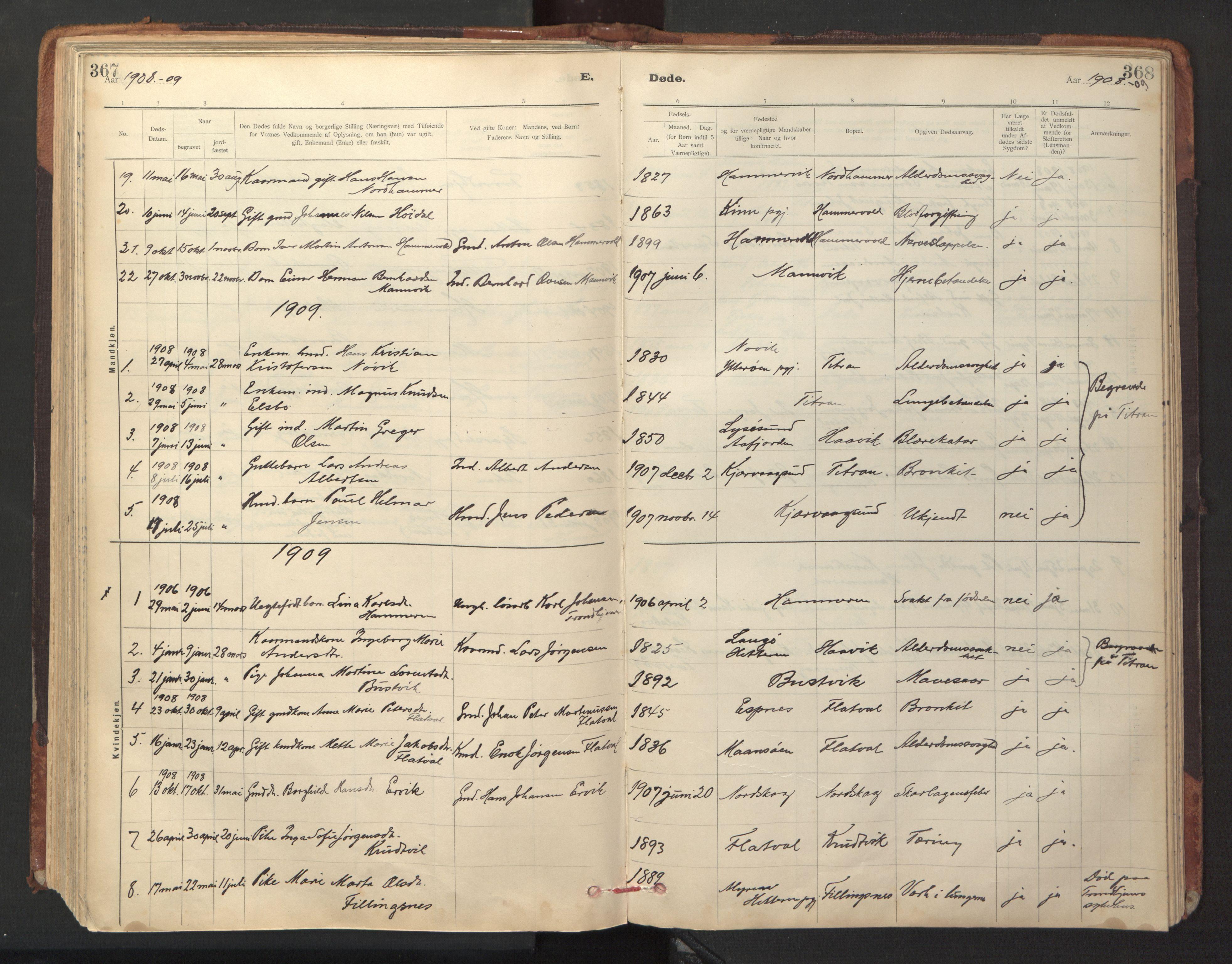 SAT, Ministerialprotokoller, klokkerbøker og fødselsregistre - Sør-Trøndelag, 641/L0596: Ministerialbok nr. 641A02, 1898-1915, s. 367-368
