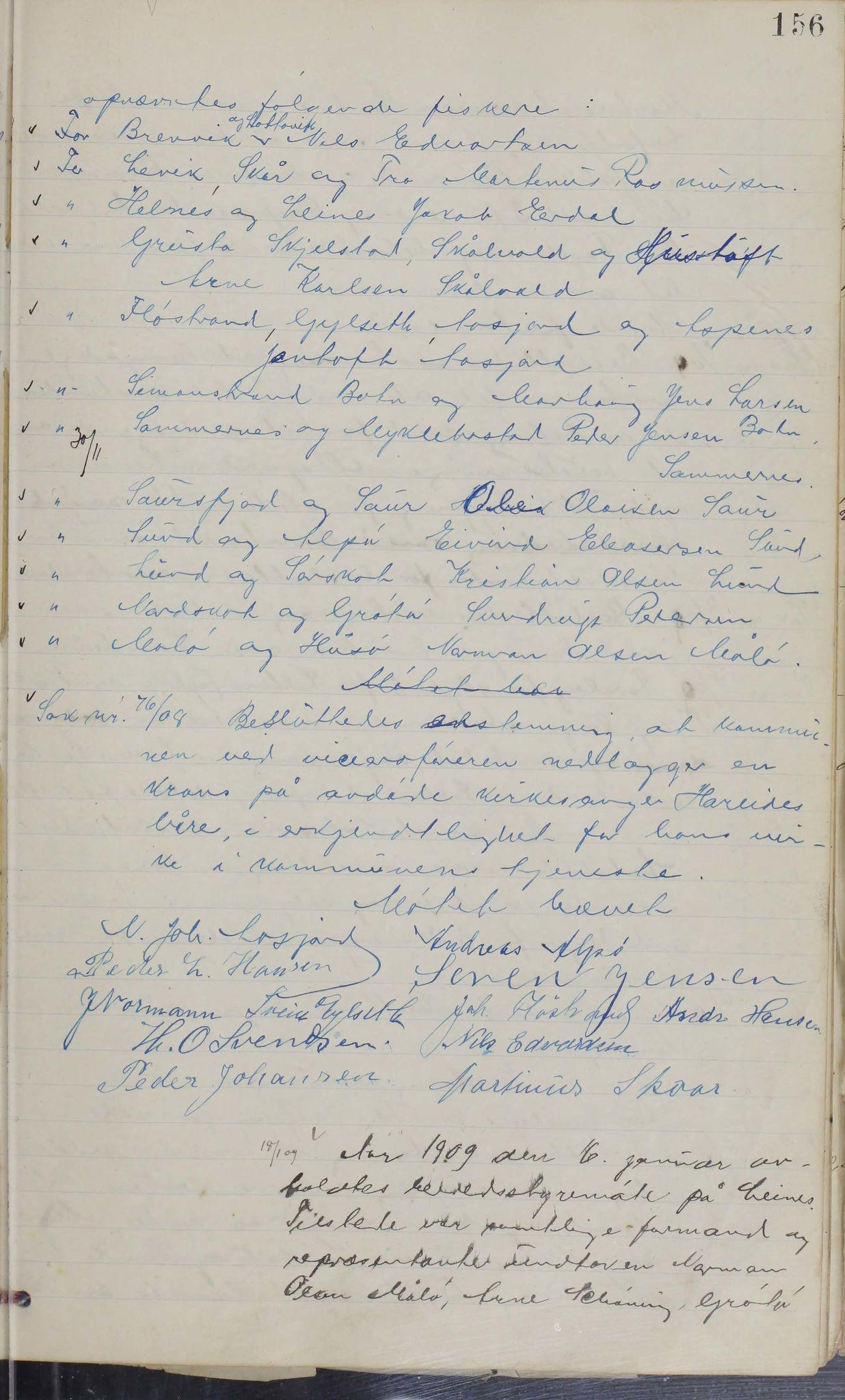 AIN, Leiranger kommune. Formannskapet, 100/L0001: Møtebok, 1900-1913, s. 156