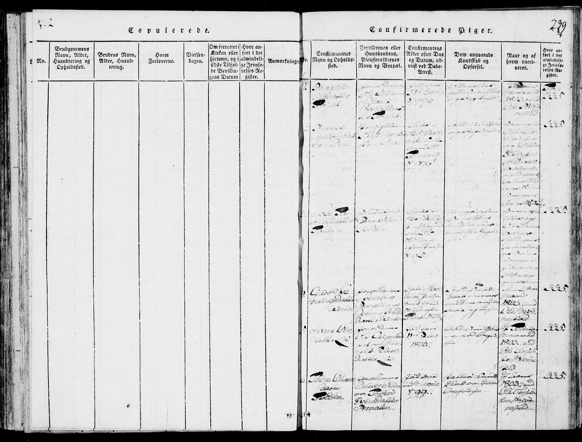 SAKO, Fyresdal kirkebøker, F/Fb/L0001: Ministerialbok nr. II 1, 1815-1854, s. 239