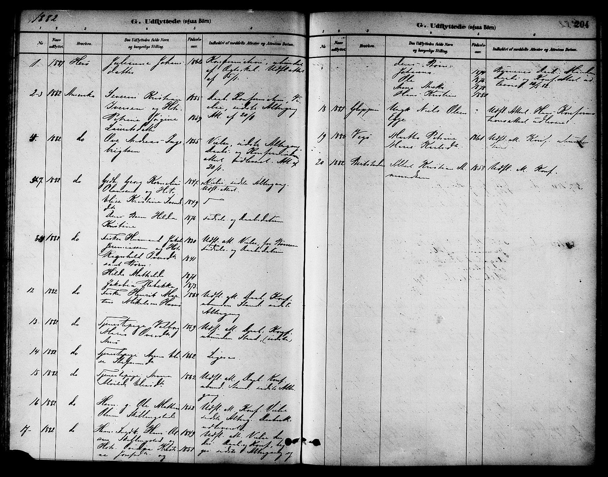 SAT, Ministerialprotokoller, klokkerbøker og fødselsregistre - Nord-Trøndelag, 784/L0672: Ministerialbok nr. 784A07, 1880-1887, s. 204