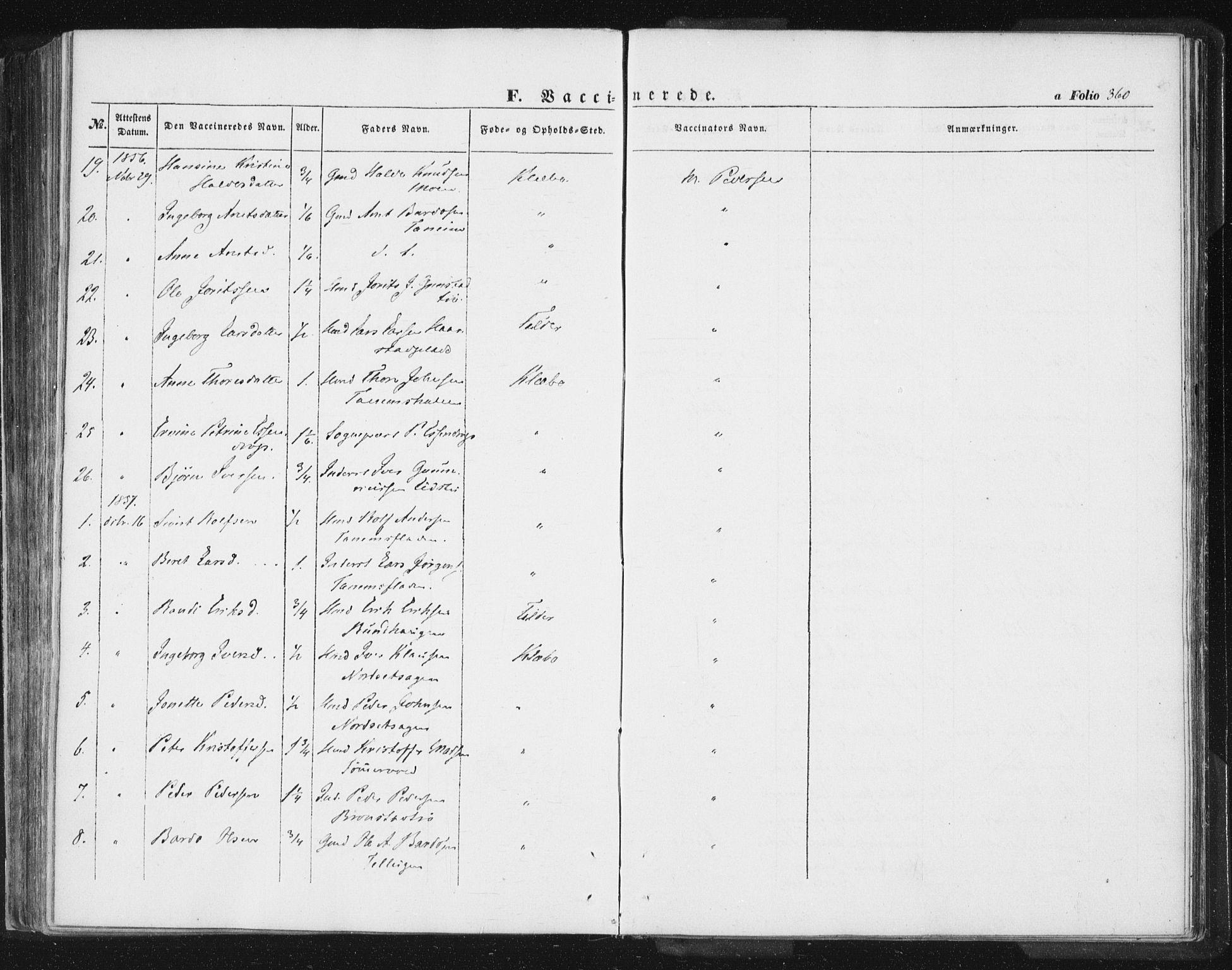 SAT, Ministerialprotokoller, klokkerbøker og fødselsregistre - Sør-Trøndelag, 618/L0441: Ministerialbok nr. 618A05, 1843-1862, s. 360