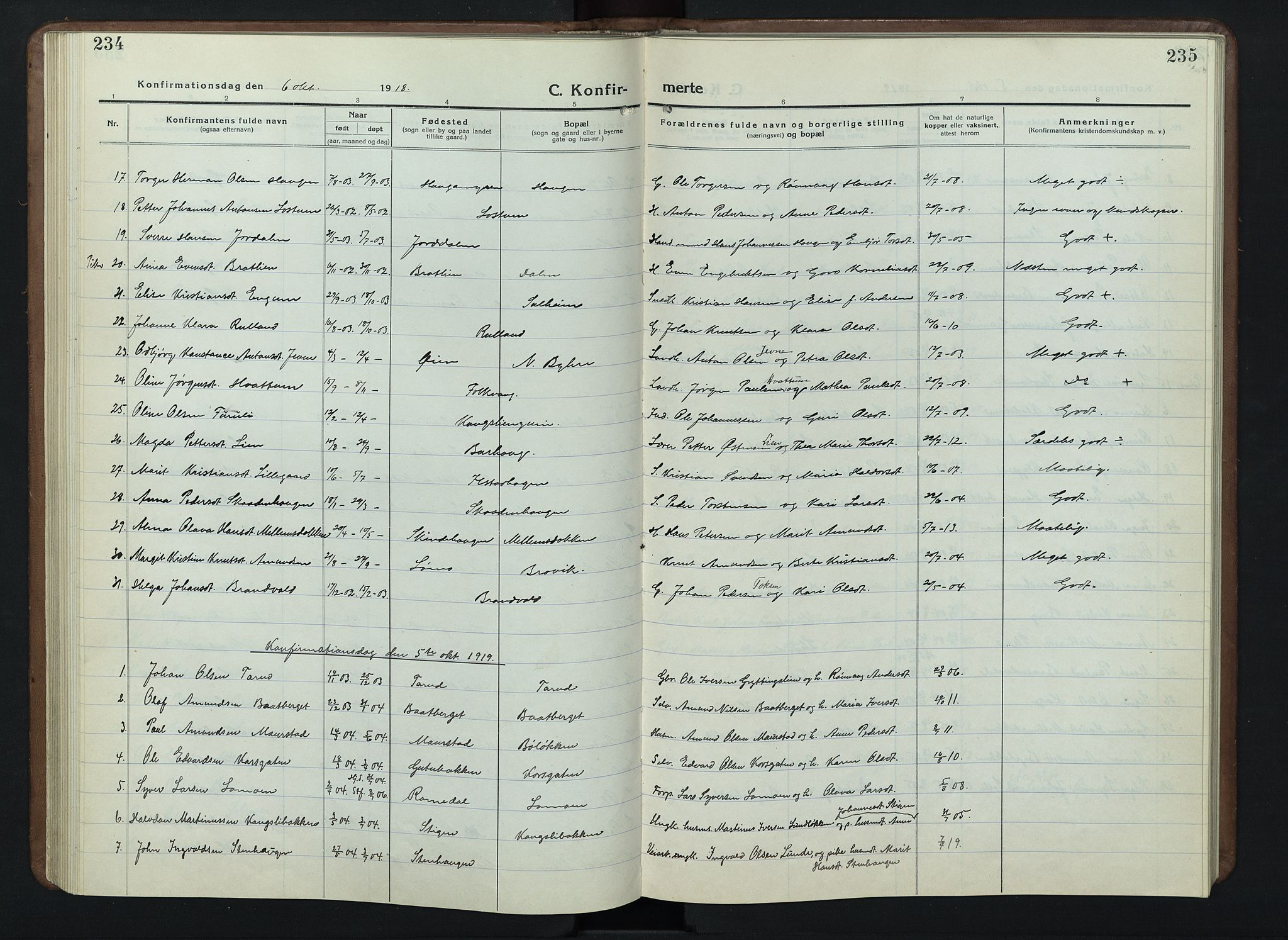 SAH, Nord-Fron prestekontor, Klokkerbok nr. 7, 1915-1946, s. 234-235