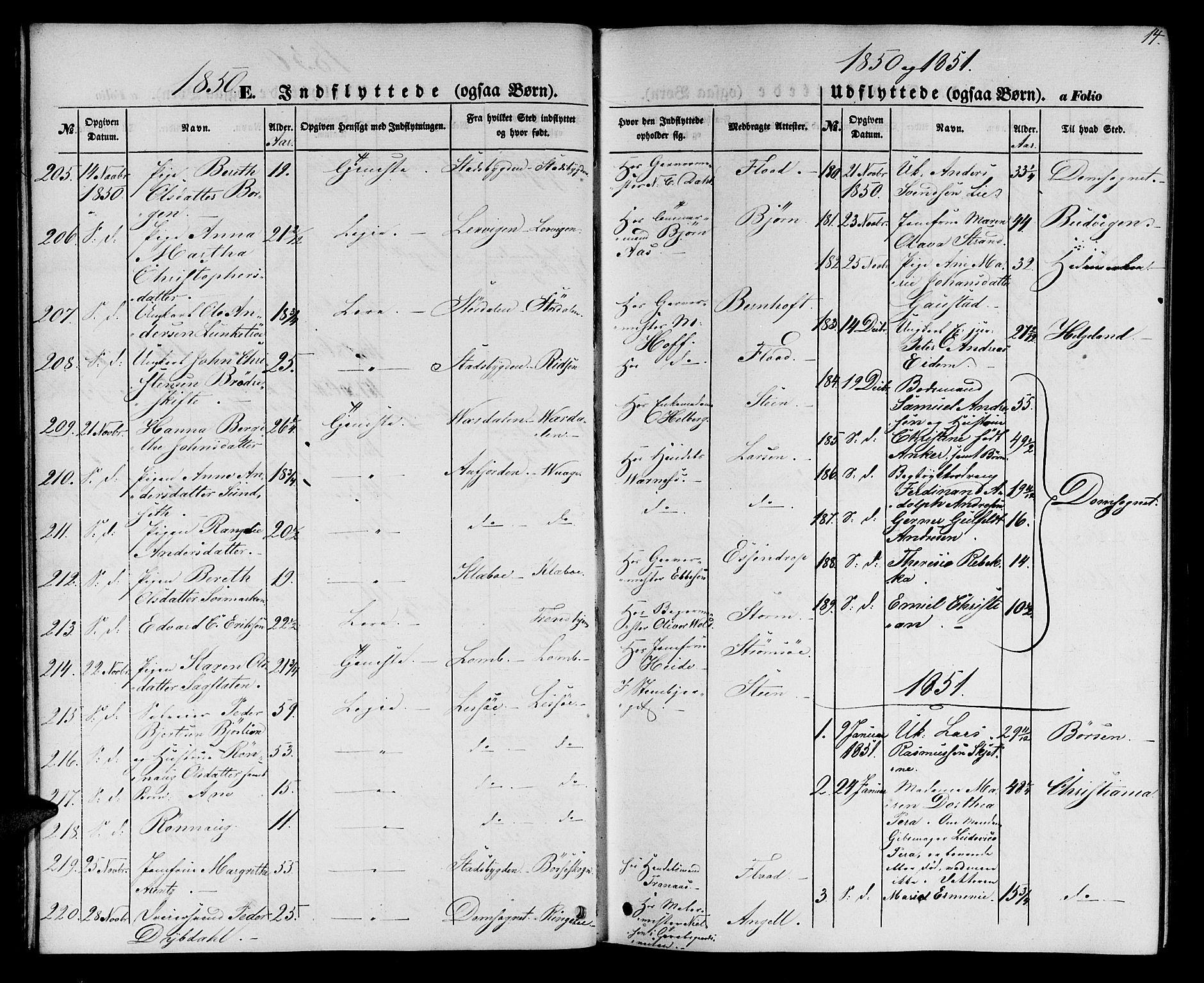 SAT, Ministerialprotokoller, klokkerbøker og fødselsregistre - Sør-Trøndelag, 602/L0113: Ministerialbok nr. 602A11, 1849-1861, s. 14