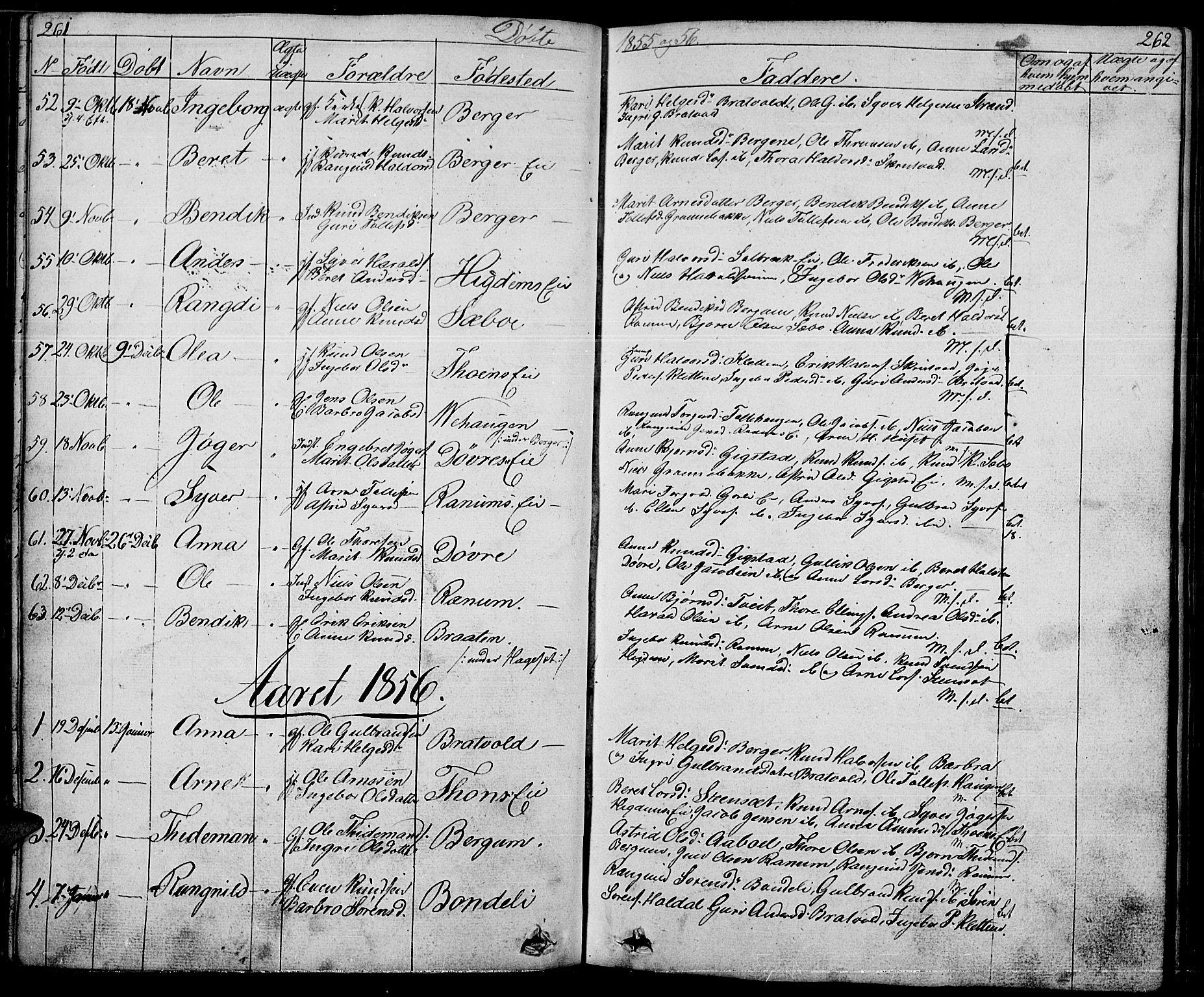 SAH, Nord-Aurdal prestekontor, Klokkerbok nr. 1, 1834-1887, s. 261-262