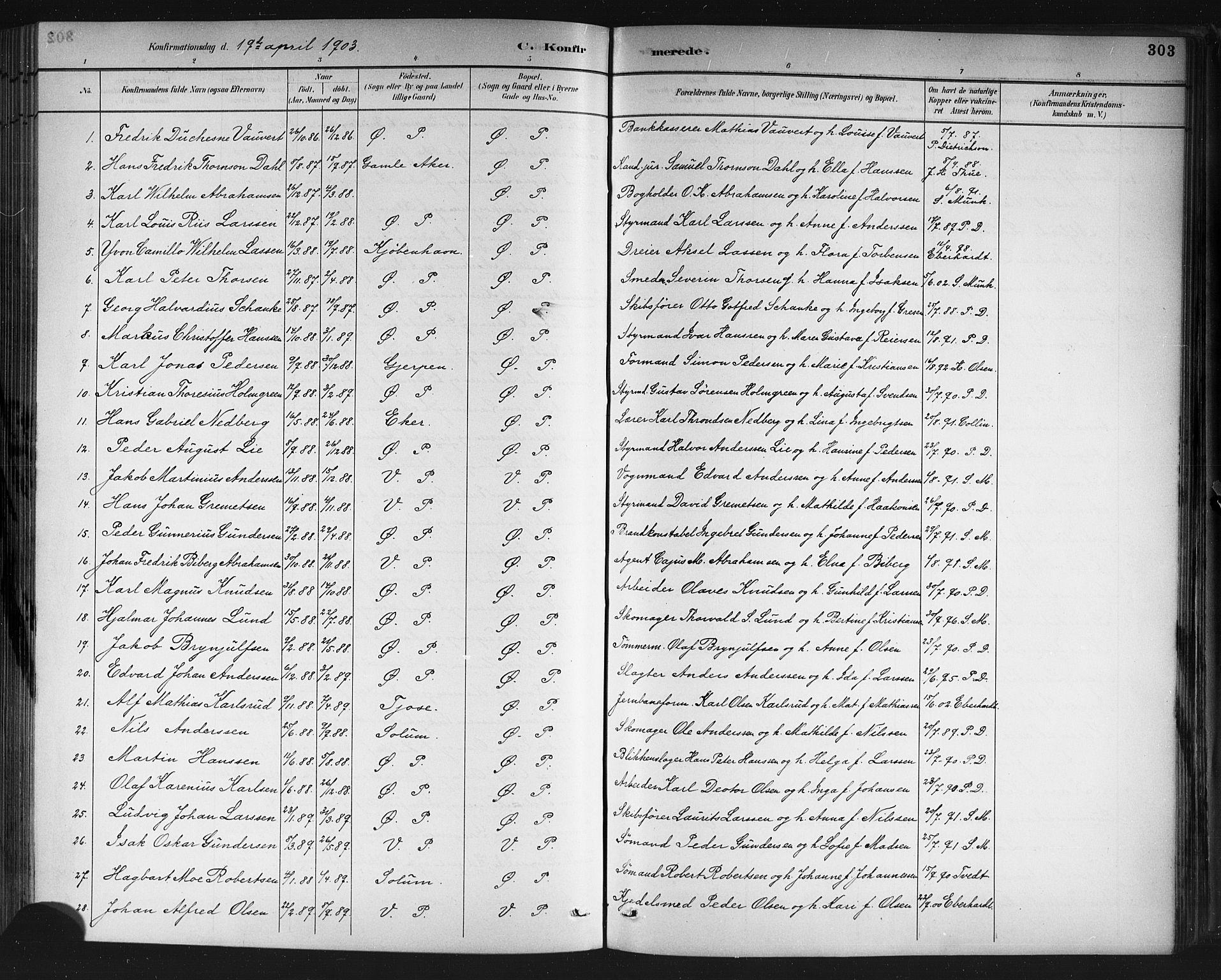 SAKO, Porsgrunn kirkebøker , G/Gb/L0005: Klokkerbok nr. II 5, 1883-1915, s. 303