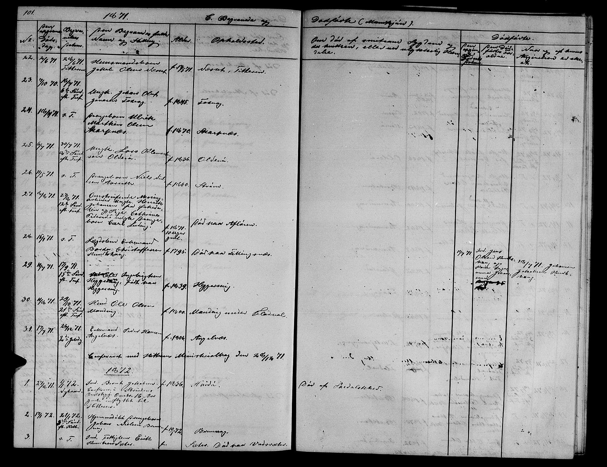 SAT, Ministerialprotokoller, klokkerbøker og fødselsregistre - Sør-Trøndelag, 634/L0539: Klokkerbok nr. 634C01, 1866-1873, s. 101