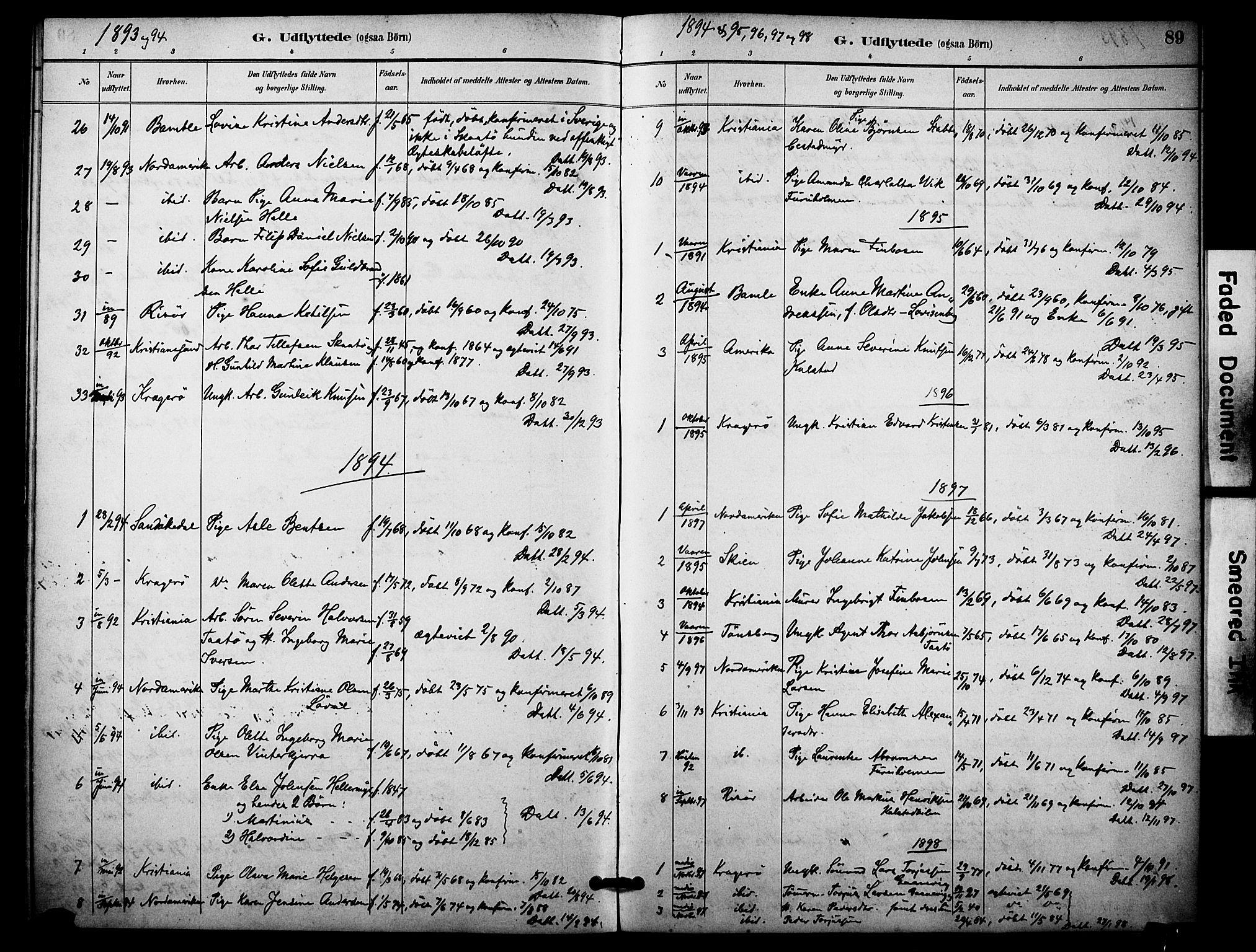 SAKO, Skåtøy kirkebøker, F/Fa/L0004: Ministerialbok nr. I 4, 1884-1900, s. 89