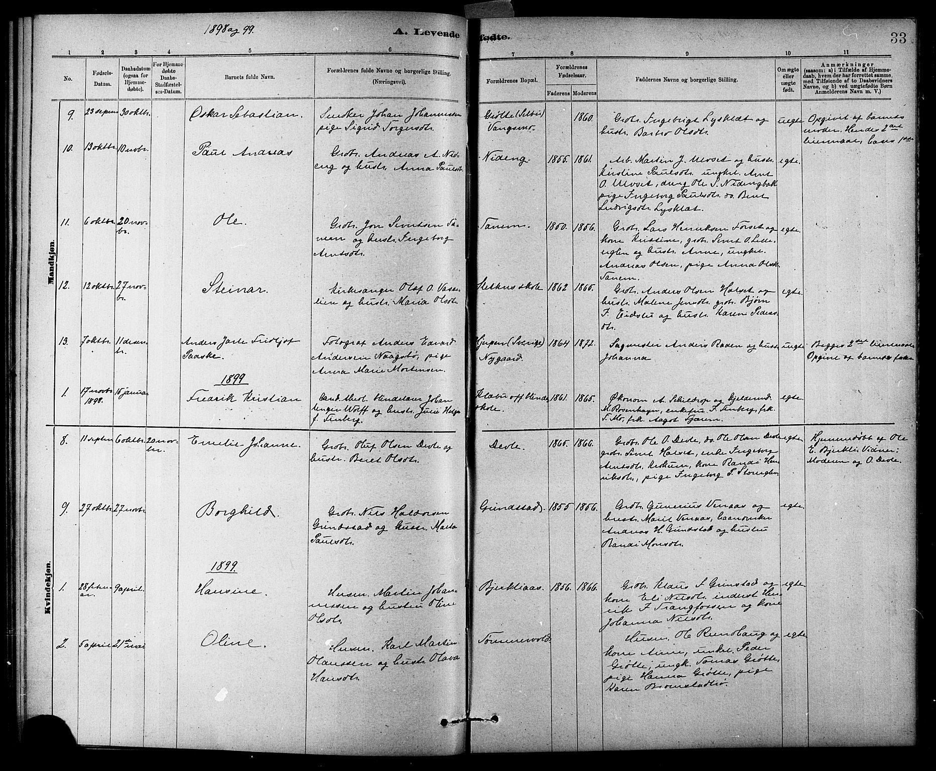SAT, Ministerialprotokoller, klokkerbøker og fødselsregistre - Sør-Trøndelag, 618/L0452: Klokkerbok nr. 618C03, 1884-1906, s. 33