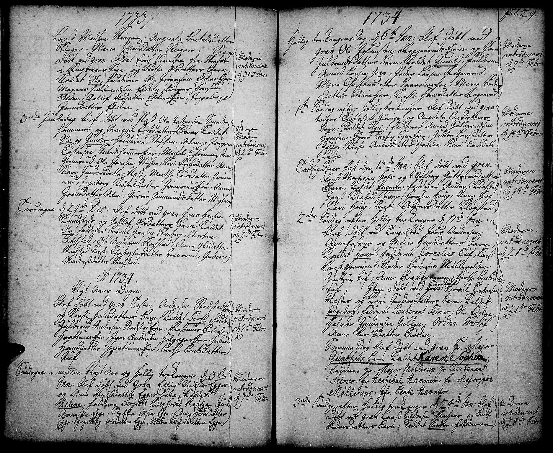 SAH, Gran prestekontor, Ministerialbok nr. 2, 1732-1744, s. 29