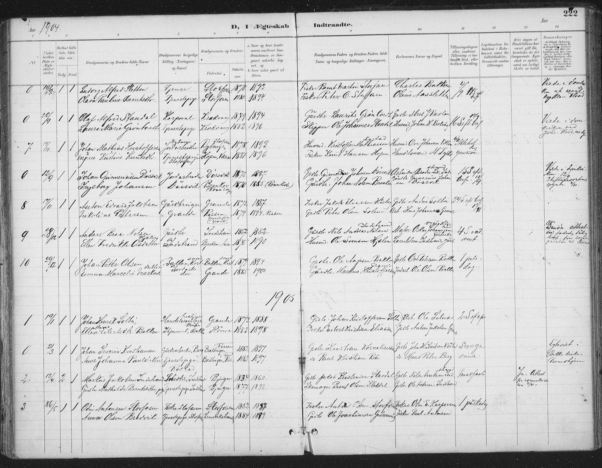 SAT, Ministerialprotokoller, klokkerbøker og fødselsregistre - Sør-Trøndelag, 659/L0743: Ministerialbok nr. 659A13, 1893-1910, s. 222