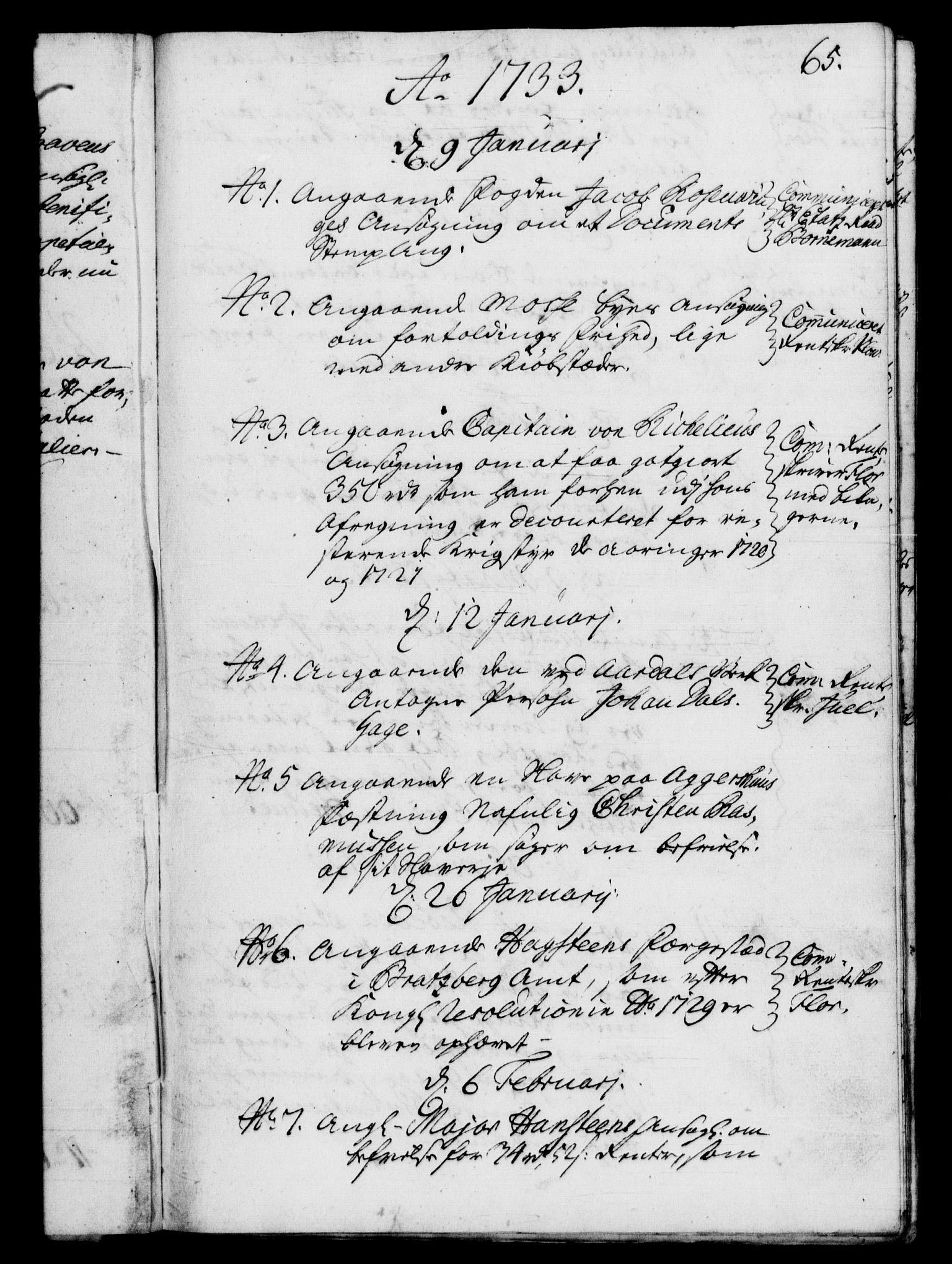 RA, Rentekammeret, Kammerkanselliet, G/Gf/Gfb/L0003: Register til norske relasjons- og resolusjonsprotokoller (merket RK 52.98), 1729-1736, s. 65