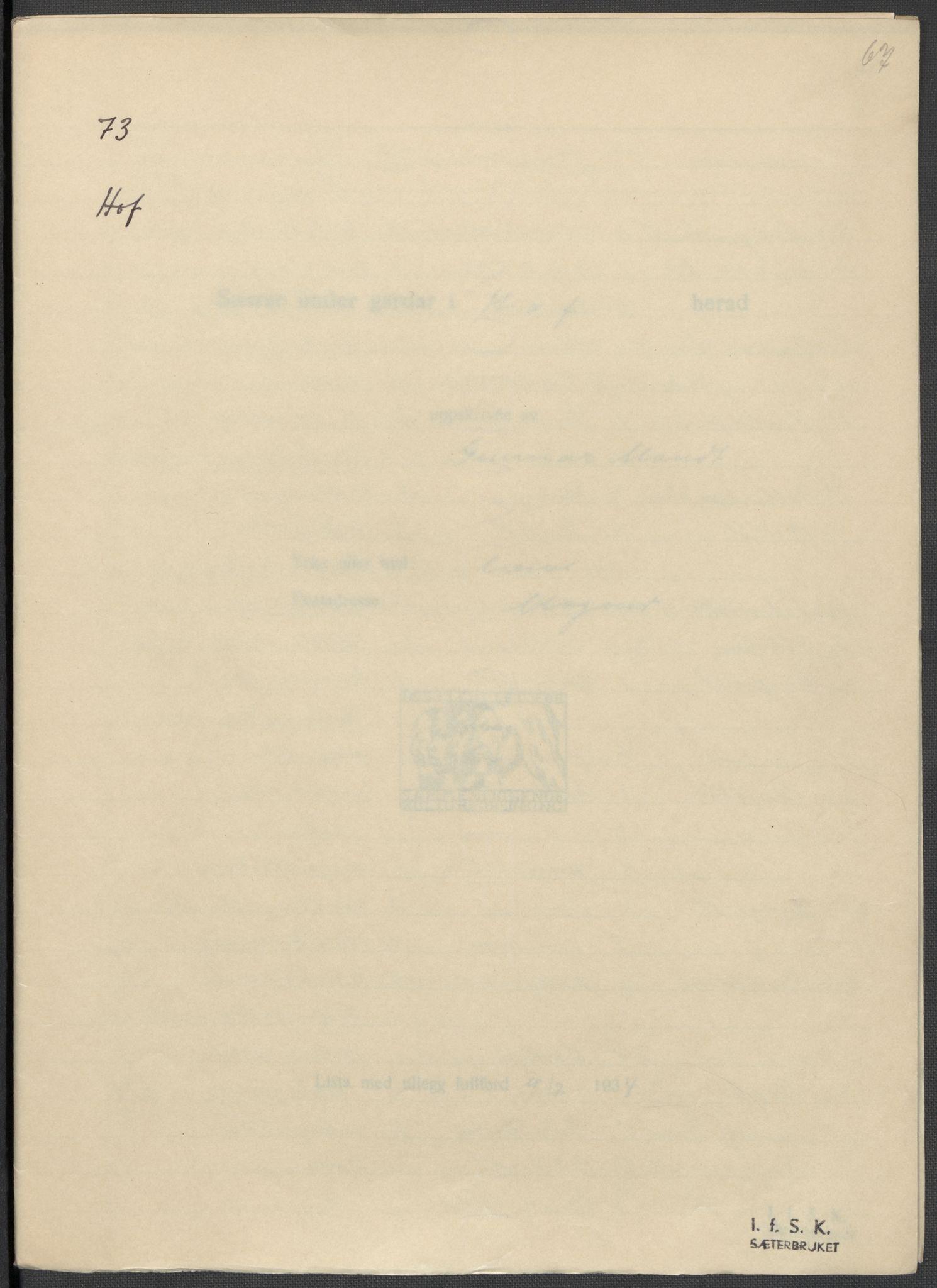 RA, Instituttet for sammenlignende kulturforskning, F/Fc/L0003: Eske B3:, 1934-1935, s. 67