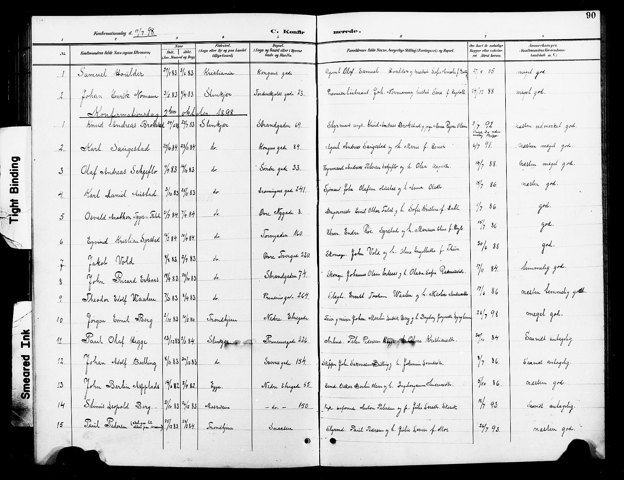 SAT, Ministerialprotokoller, klokkerbøker og fødselsregistre - Nord-Trøndelag, 739/L0375: Klokkerbok nr. 739C03, 1898-1908, s. 90