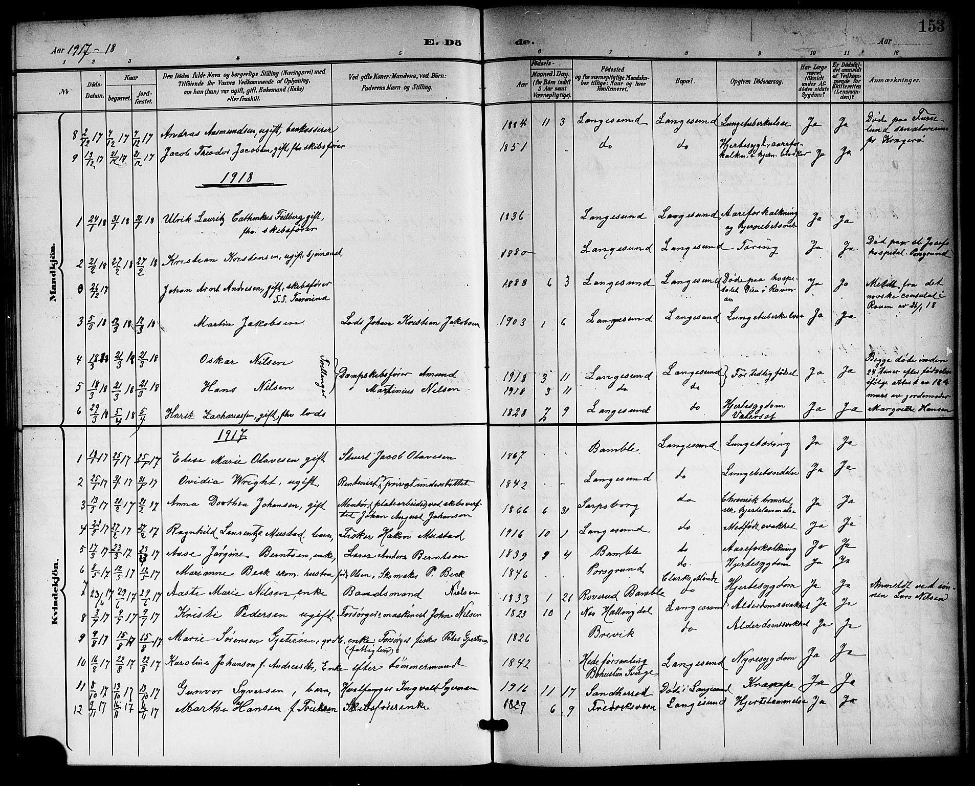 SAKO, Langesund kirkebøker, G/Ga/L0006: Klokkerbok nr. 6, 1899-1918, s. 153