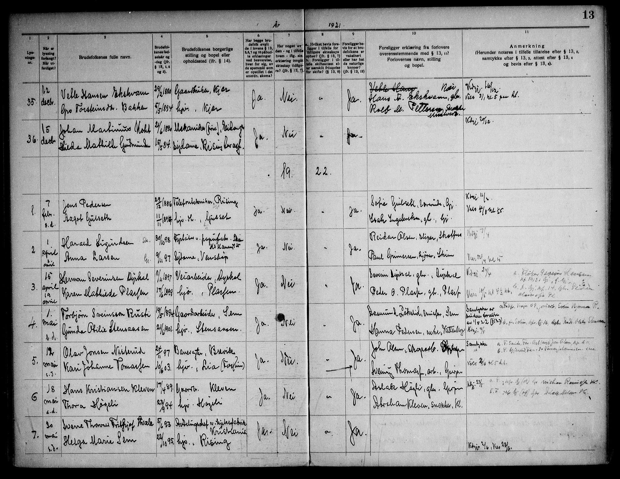 SAKO, Gjerpen kirkebøker, H/Ha/L0003: Lysningsprotokoll nr. I 3, 1919-1946, s. 13
