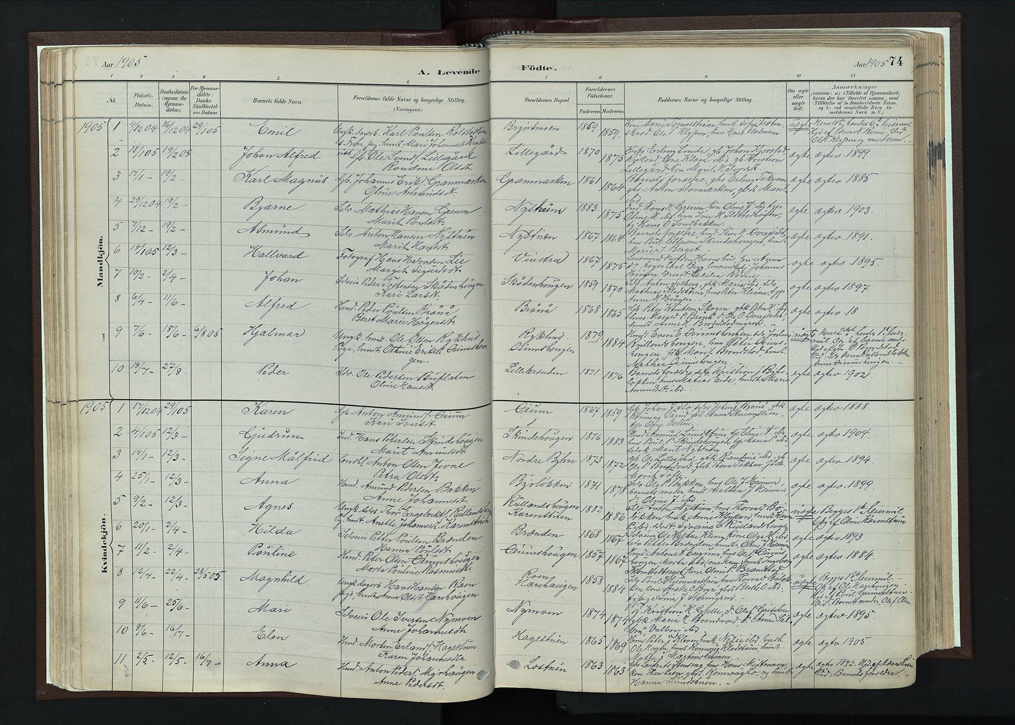 SAH, Nord-Fron prestekontor, Ministerialbok nr. 4, 1884-1914, s. 74