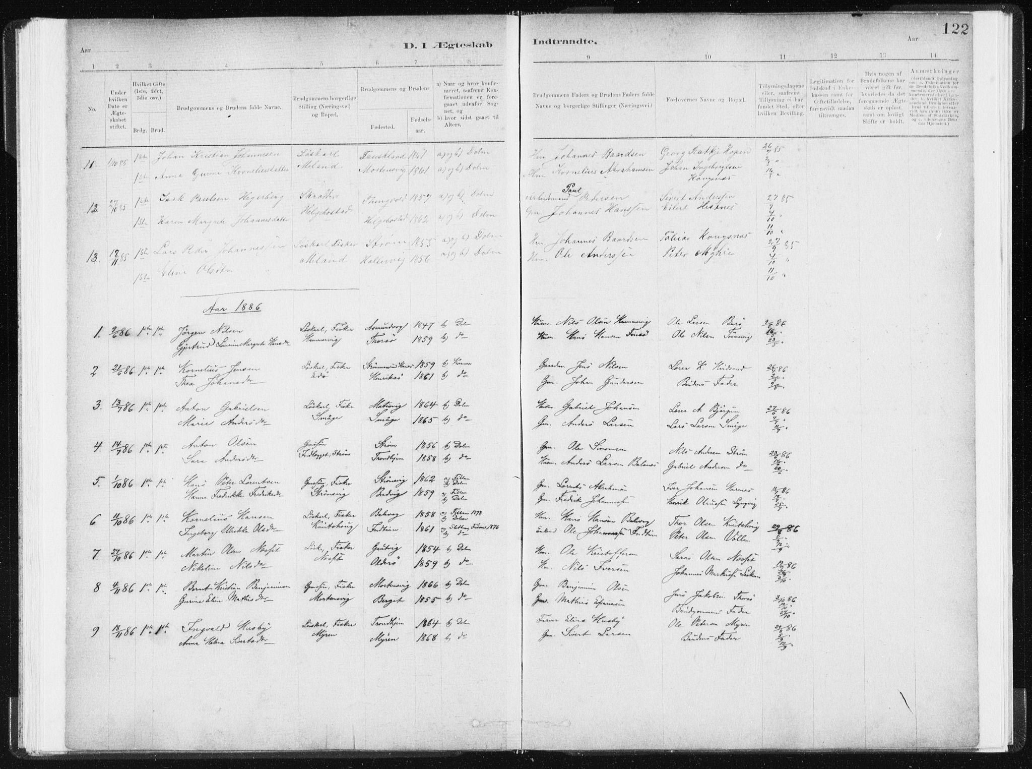 SAT, Ministerialprotokoller, klokkerbøker og fødselsregistre - Sør-Trøndelag, 634/L0533: Ministerialbok nr. 634A09, 1882-1901, s. 122