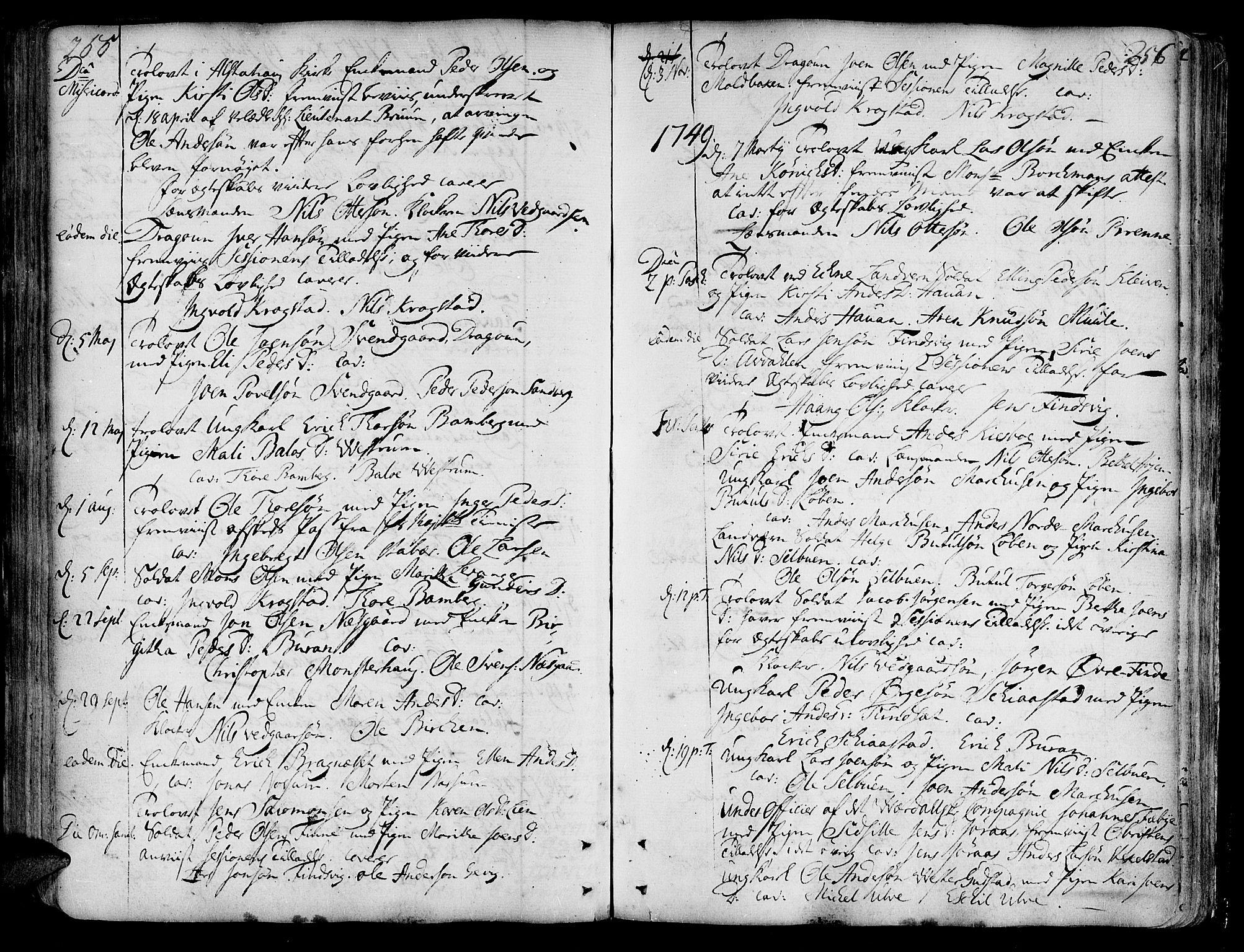 SAT, Ministerialprotokoller, klokkerbøker og fødselsregistre - Nord-Trøndelag, 717/L0141: Ministerialbok nr. 717A01, 1747-1803, s. 255-256