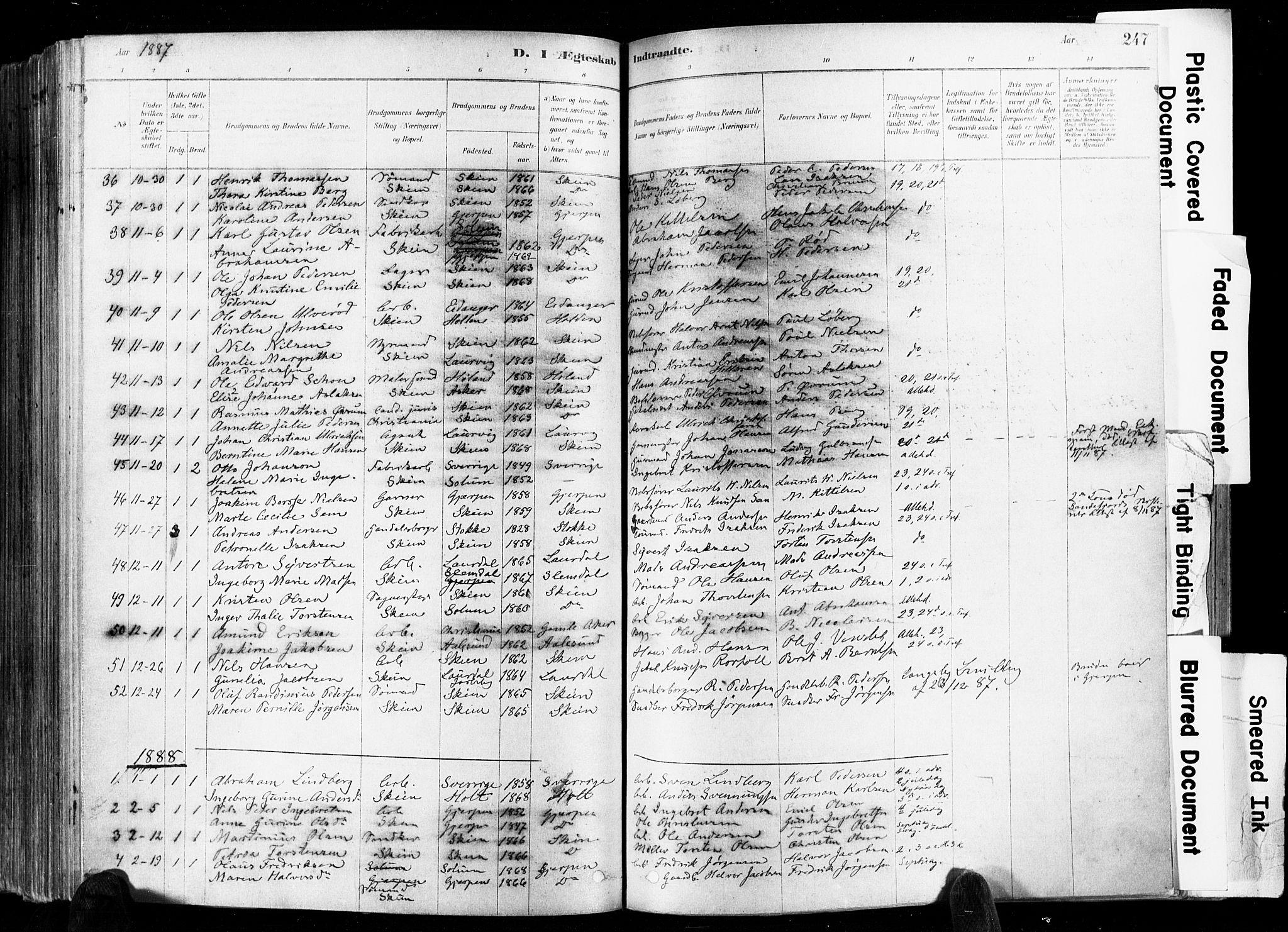 SAKO, Skien kirkebøker, F/Fa/L0009: Ministerialbok nr. 9, 1878-1890, s. 247