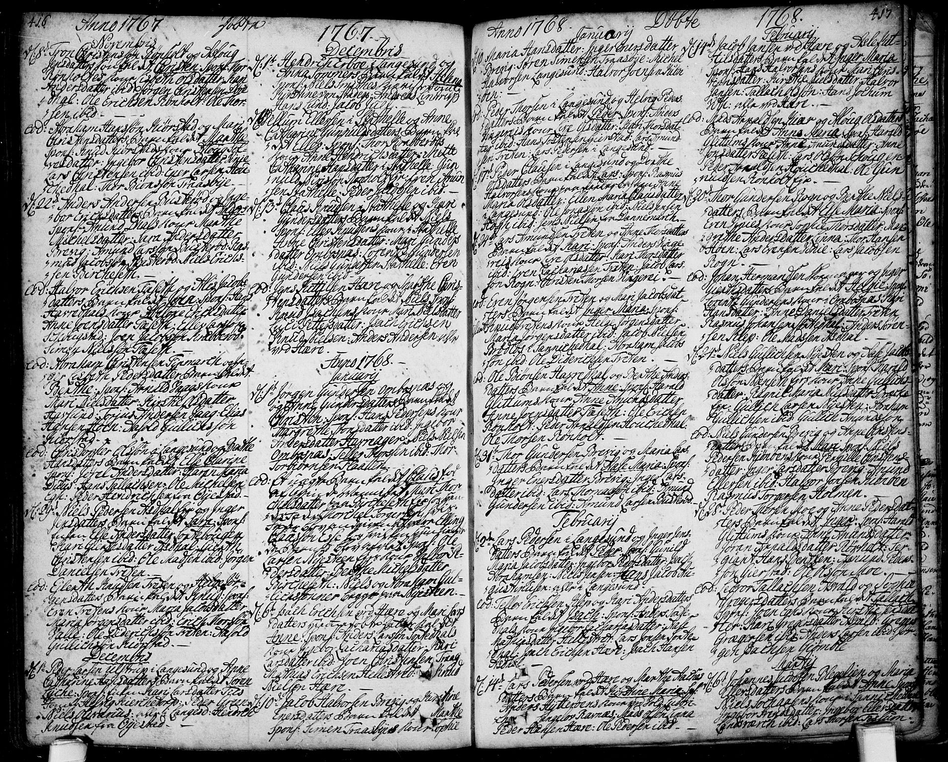 SAKO, Bamble kirkebøker, F/Fa/L0001: Ministerialbok nr. I 1, 1702-1774, s. 416-417