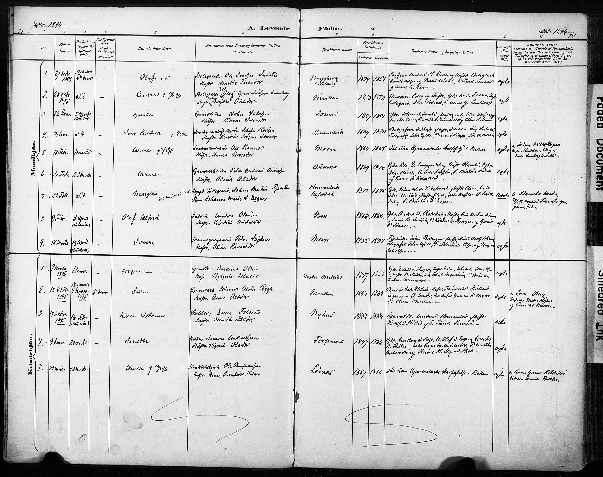SAT, Ministerialprotokoller, klokkerbøker og fødselsregistre - Sør-Trøndelag, 616/L0411: Ministerialbok nr. 616A08, 1894-1906, s. 23-24