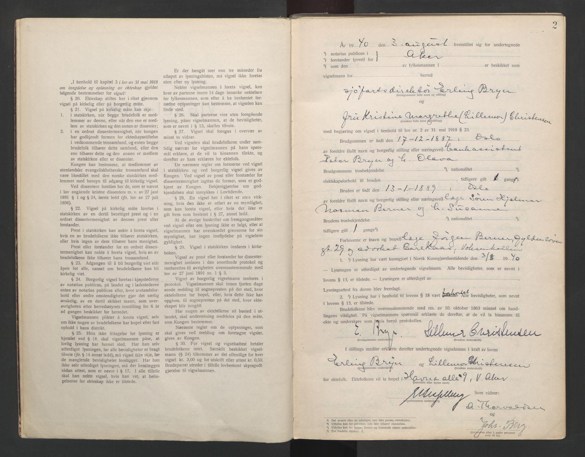 SAO, Aker sorenskriveri, L/Lc/Lcb/L0013: Vigselprotokoll, 1940-1941, s. 2