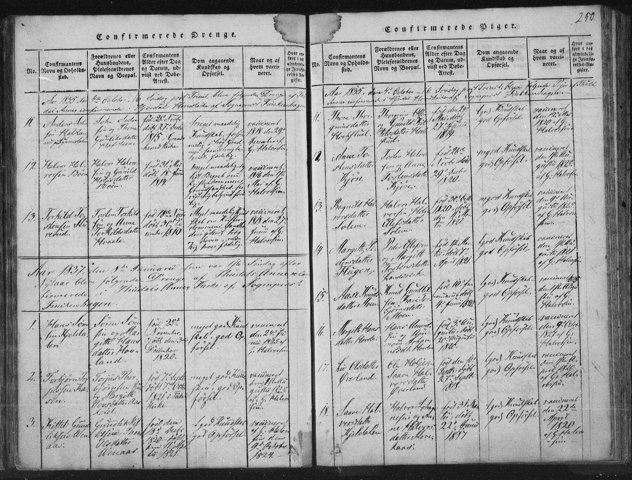 SAKO, Hjartdal kirkebøker, F/Fc/L0001: Ministerialbok nr. III 1, 1815-1843, s. 250