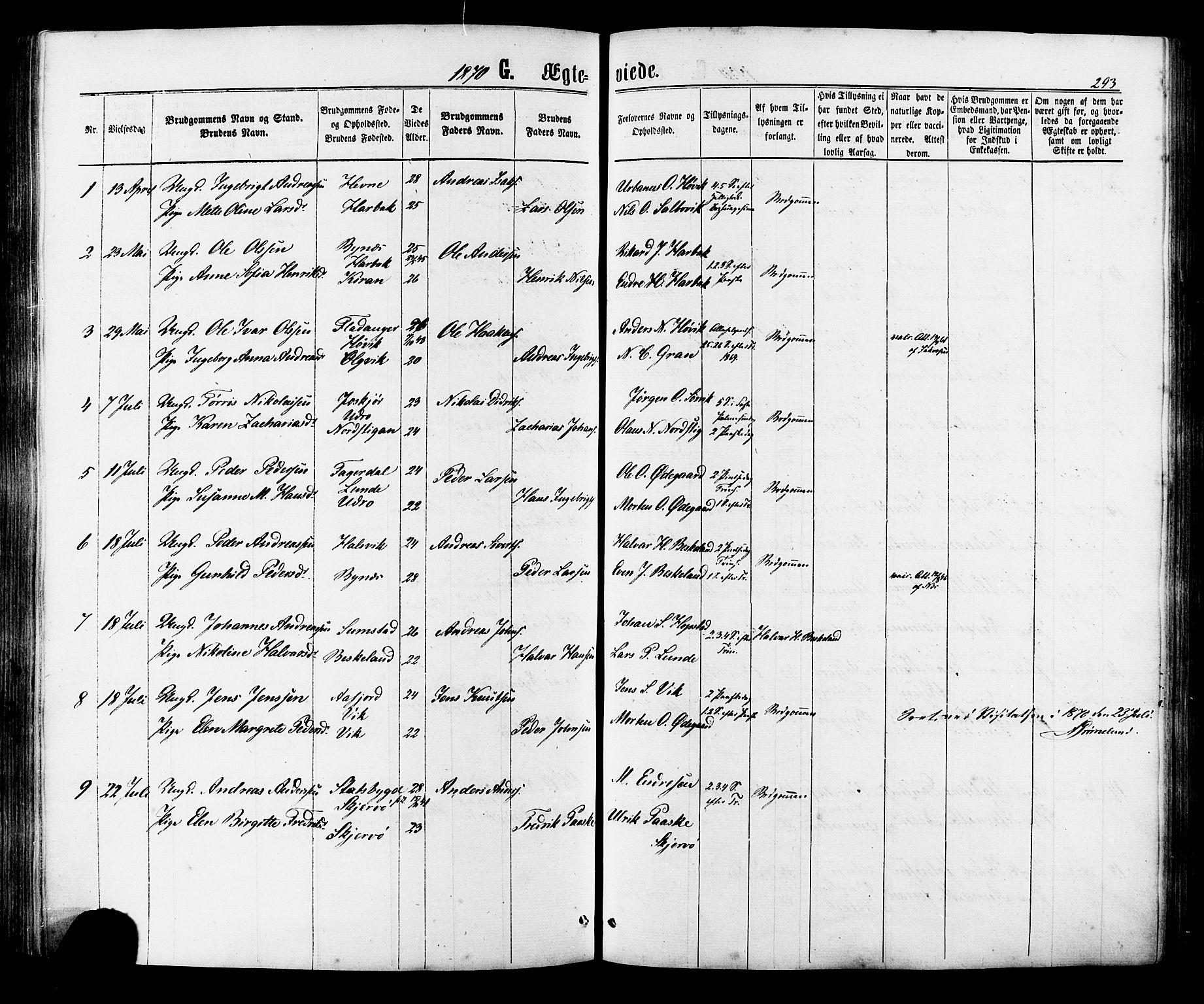 SAT, Ministerialprotokoller, klokkerbøker og fødselsregistre - Sør-Trøndelag, 657/L0706: Ministerialbok nr. 657A07, 1867-1878, s. 293