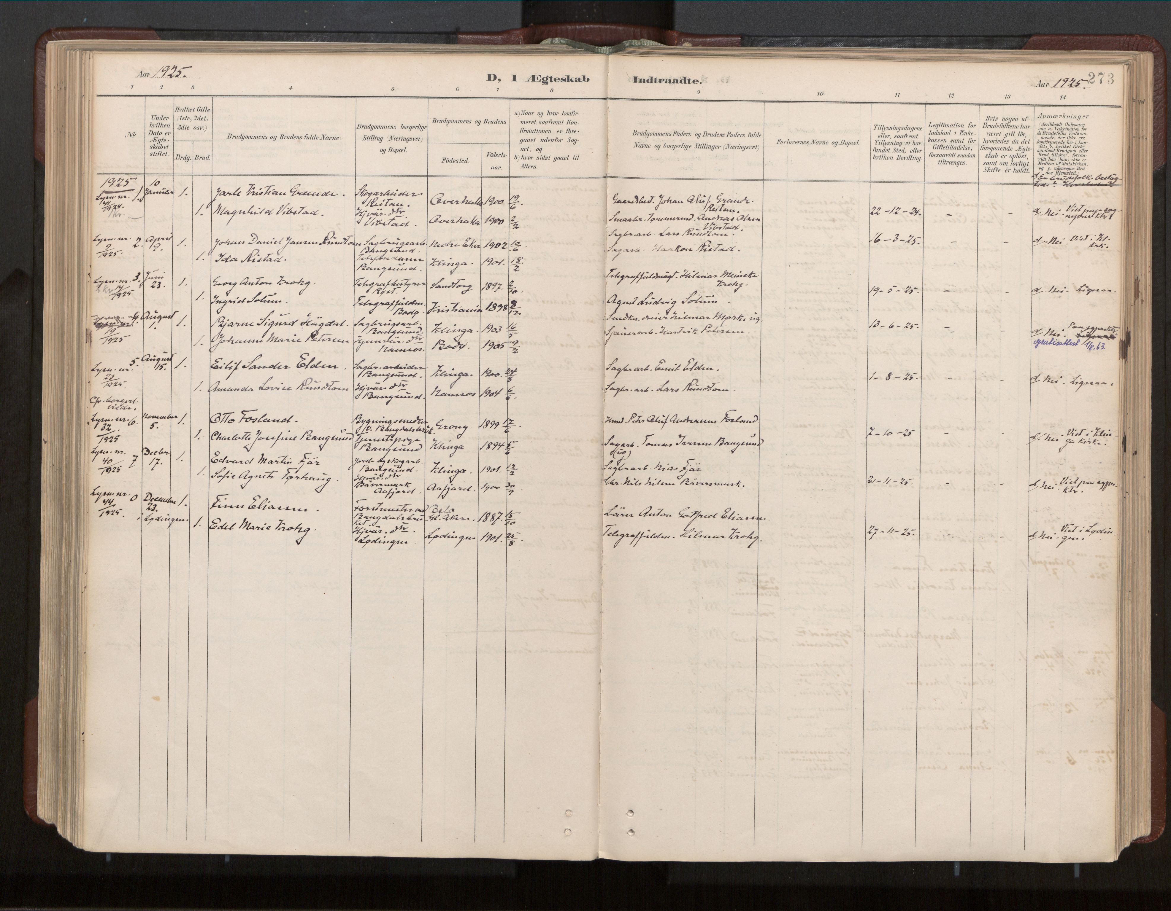 SAT, Ministerialprotokoller, klokkerbøker og fødselsregistre - Nord-Trøndelag, 770/L0589: Ministerialbok nr. 770A03, 1887-1929, s. 273