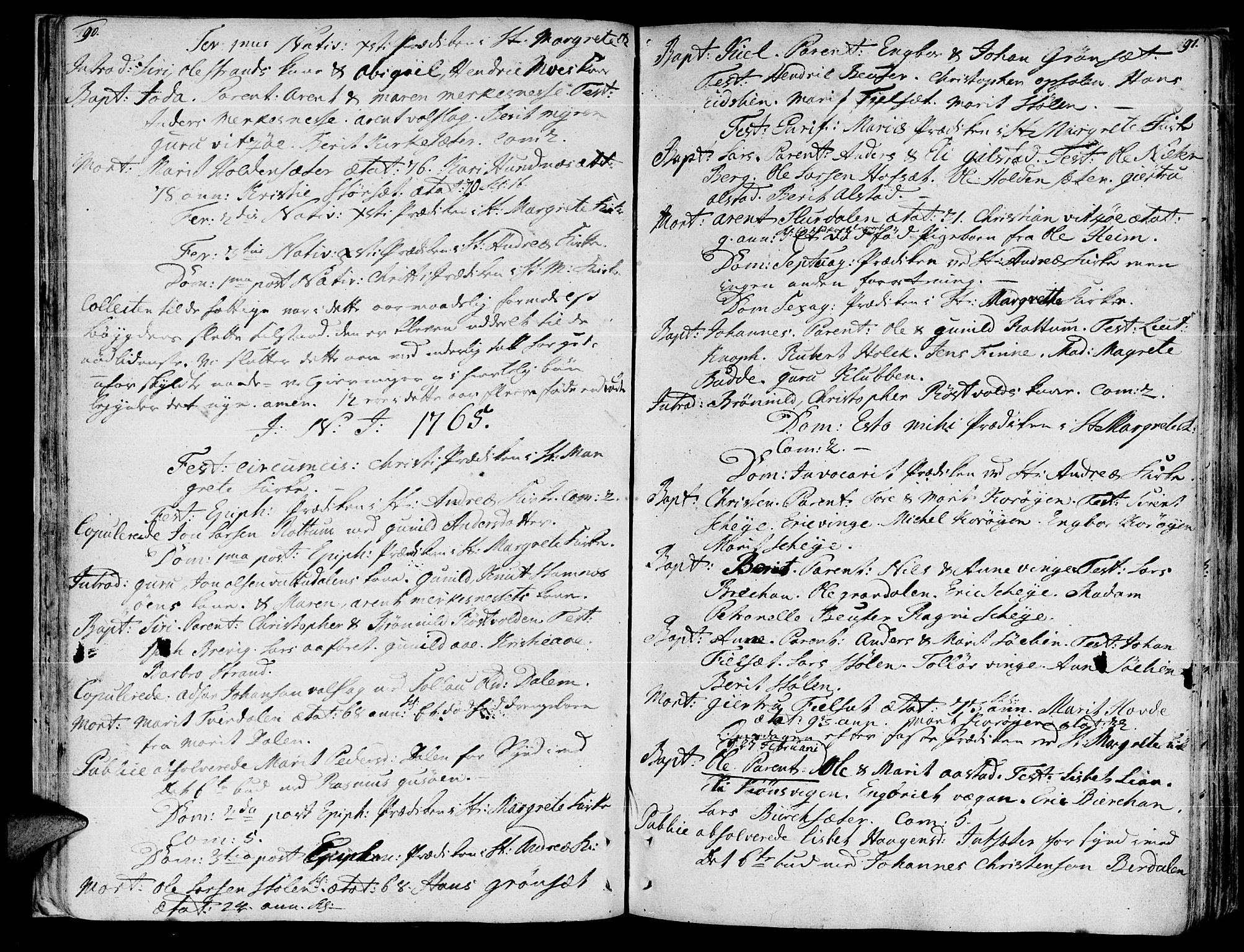 SAT, Ministerialprotokoller, klokkerbøker og fødselsregistre - Sør-Trøndelag, 630/L0489: Ministerialbok nr. 630A02, 1757-1794, s. 90-91