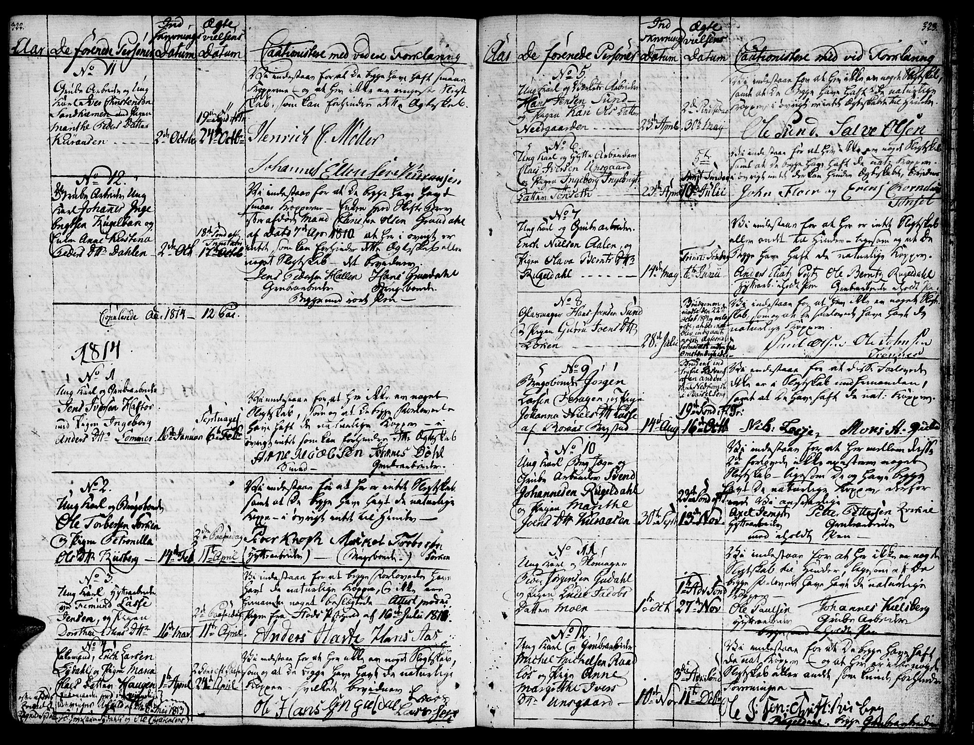 SAT, Ministerialprotokoller, klokkerbøker og fødselsregistre - Sør-Trøndelag, 681/L0928: Ministerialbok nr. 681A06, 1806-1816, s. 322-323