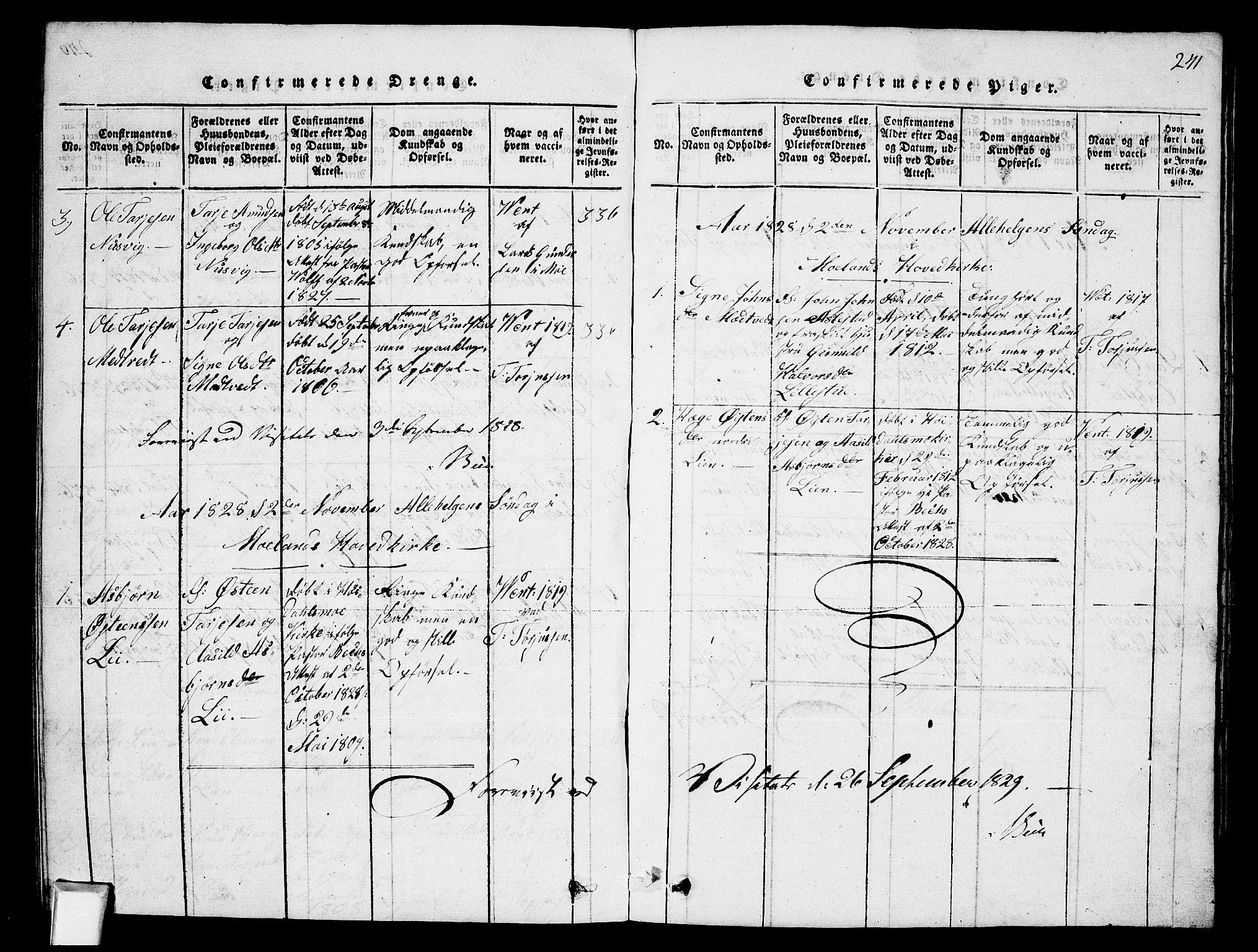 SAKO, Fyresdal kirkebøker, G/Ga/L0002: Klokkerbok nr. I 2, 1815-1857, s. 241