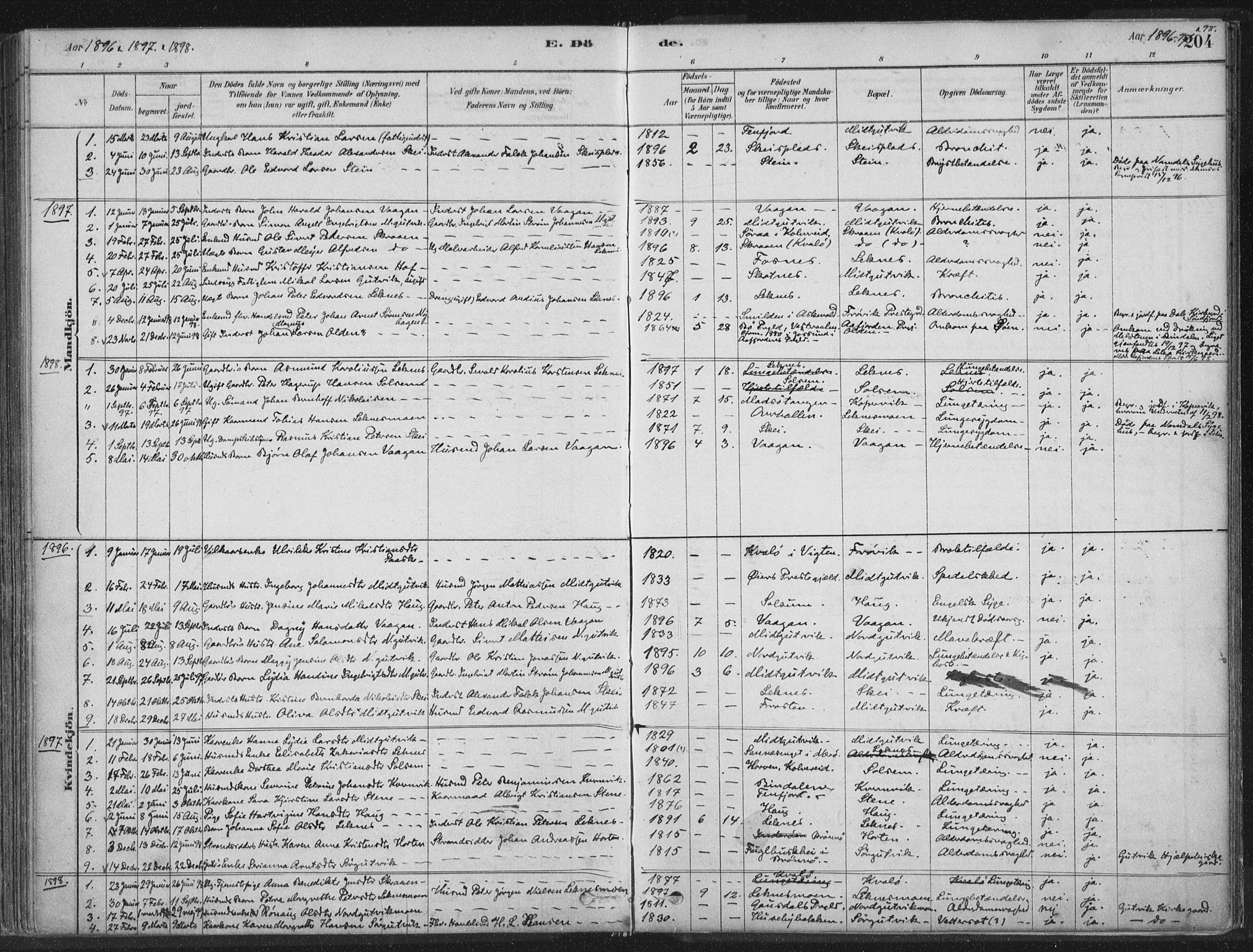SAT, Ministerialprotokoller, klokkerbøker og fødselsregistre - Nord-Trøndelag, 788/L0697: Ministerialbok nr. 788A04, 1878-1902, s. 204