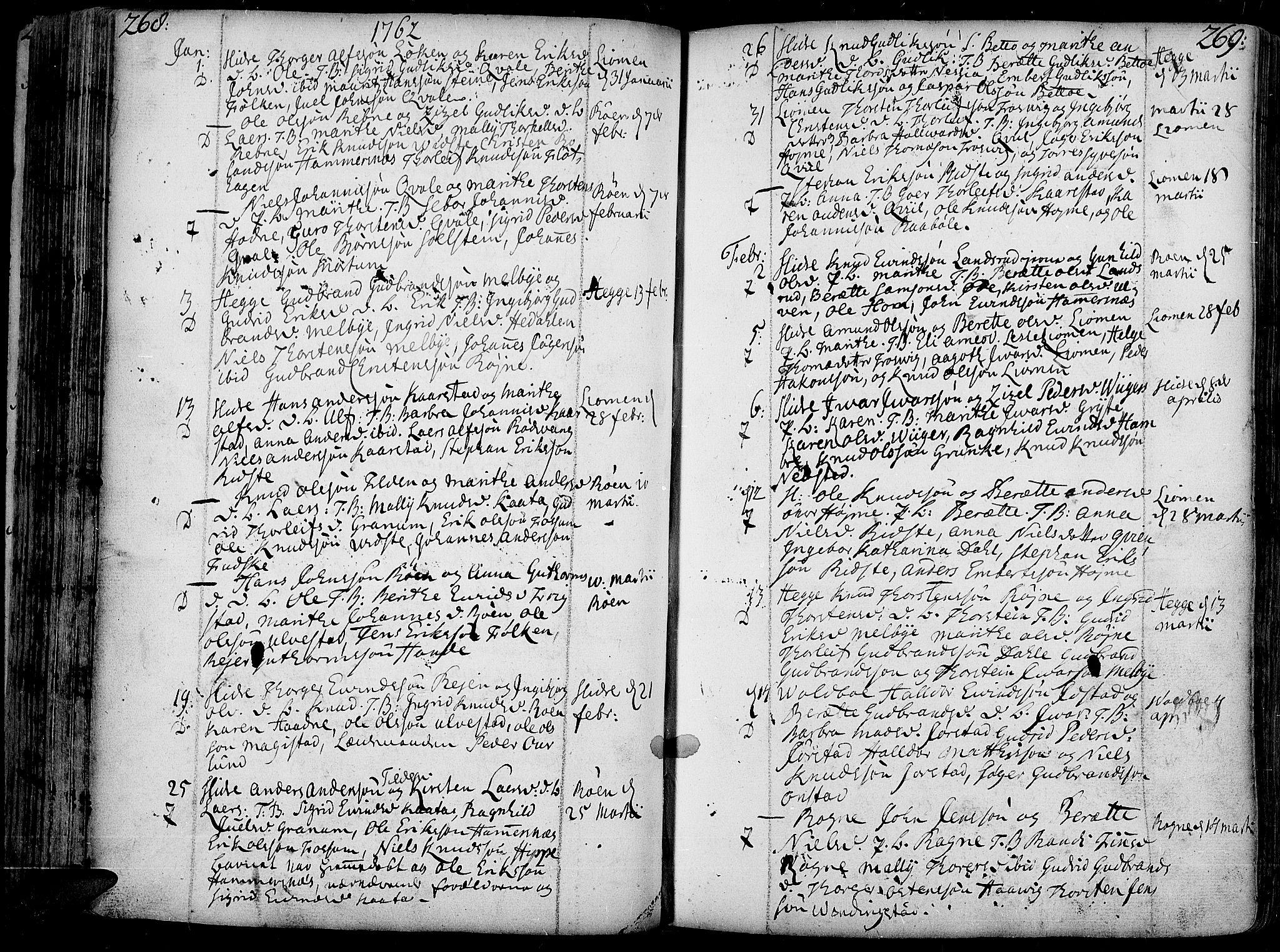 SAH, Slidre prestekontor, Ministerialbok nr. 1, 1724-1814, s. 268-269