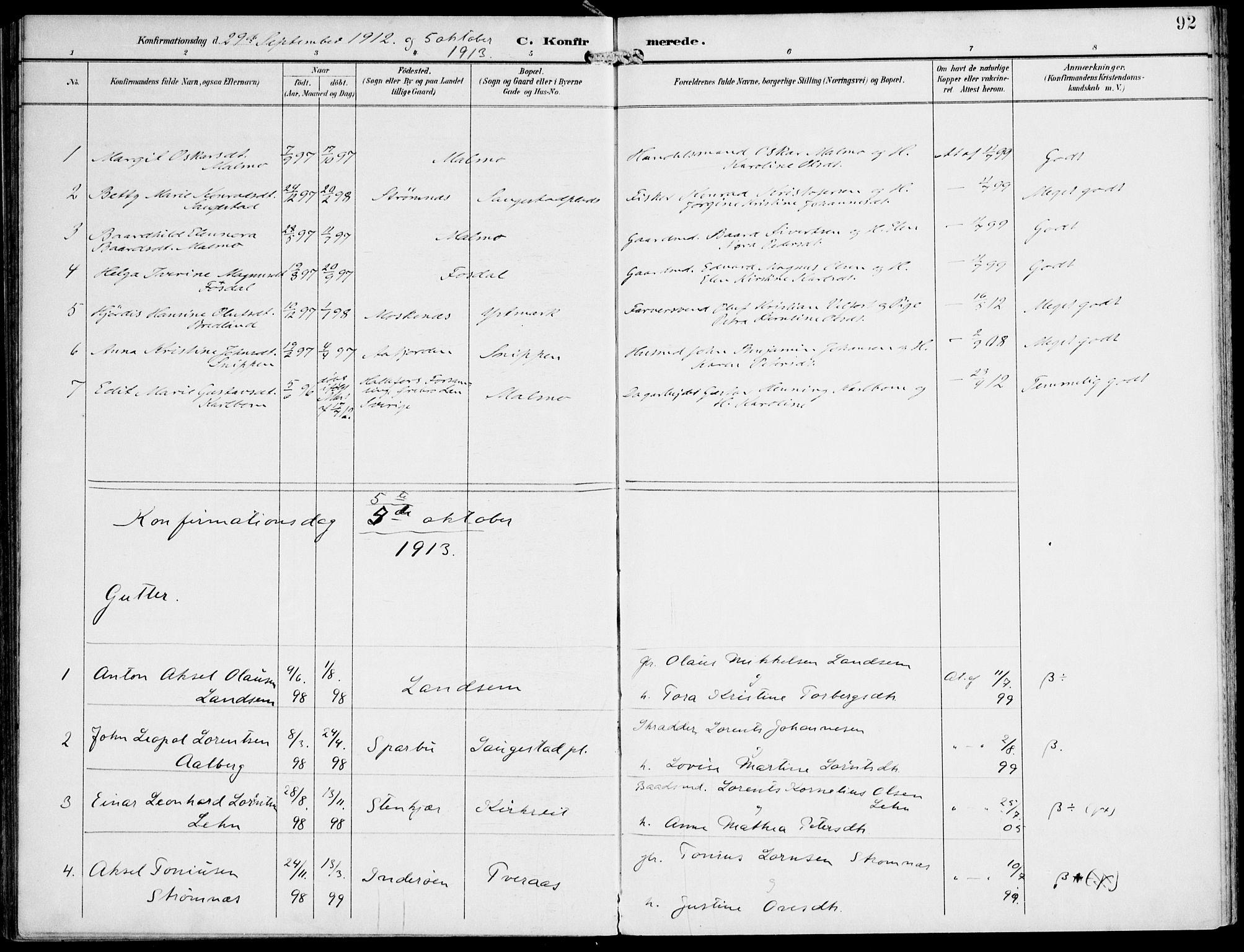 SAT, Ministerialprotokoller, klokkerbøker og fødselsregistre - Nord-Trøndelag, 745/L0430: Ministerialbok nr. 745A02, 1895-1913, s. 92