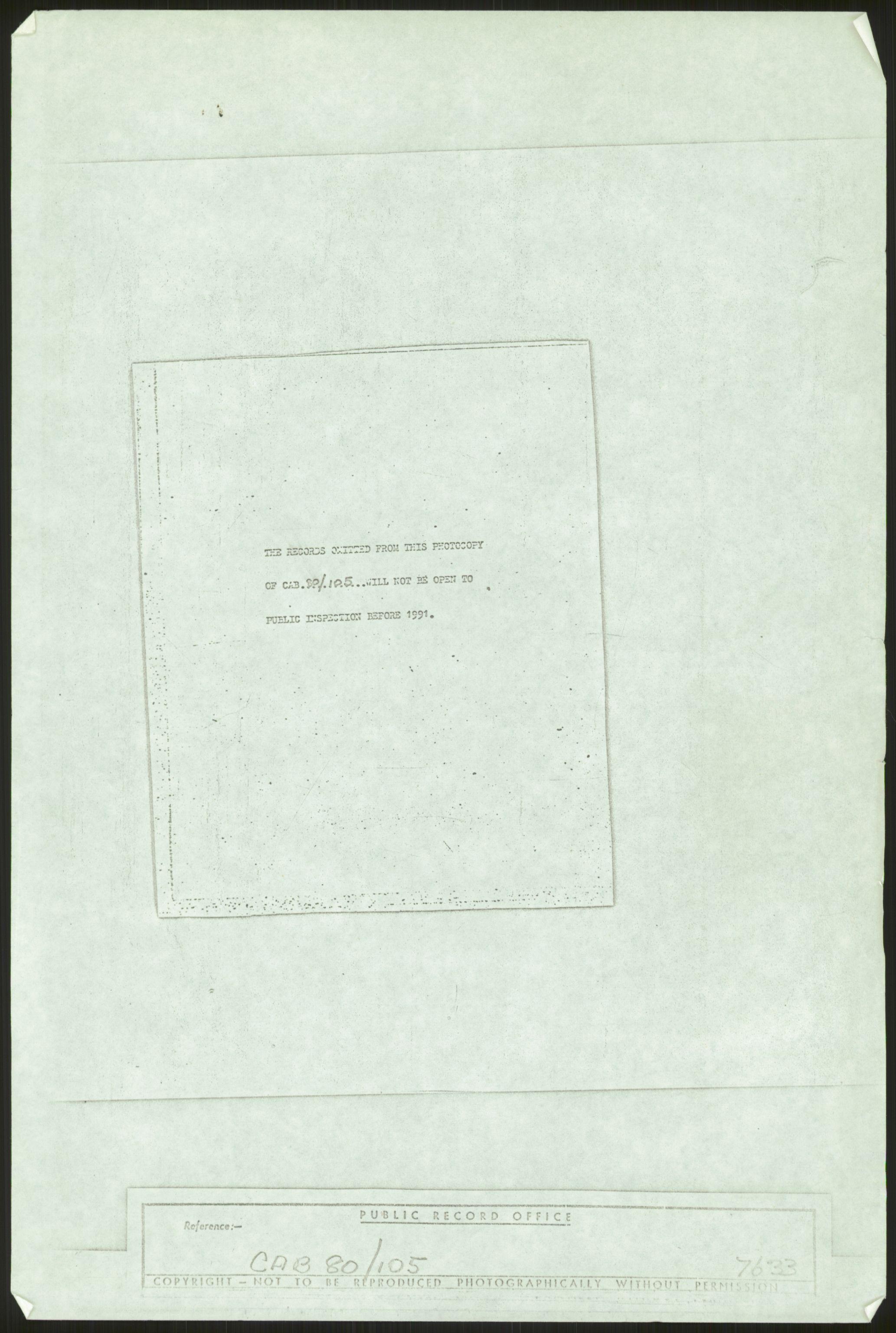 RA, Skodvin, Magne, F/L0006: Kopier fra Public Record Office, 1940